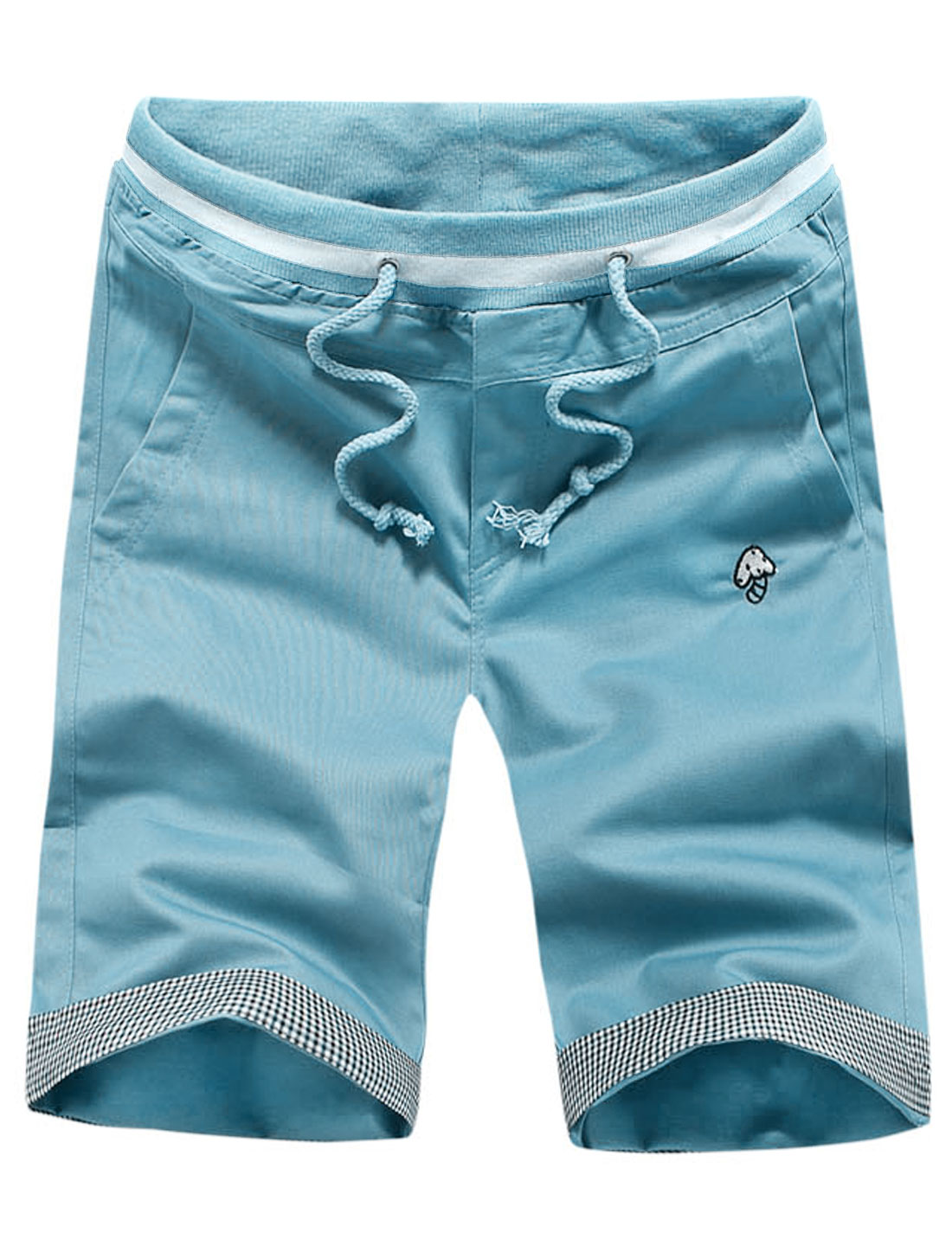 Men Mushroom Embroidery Patch Pockets Back Slim Shorts Light Blue W28