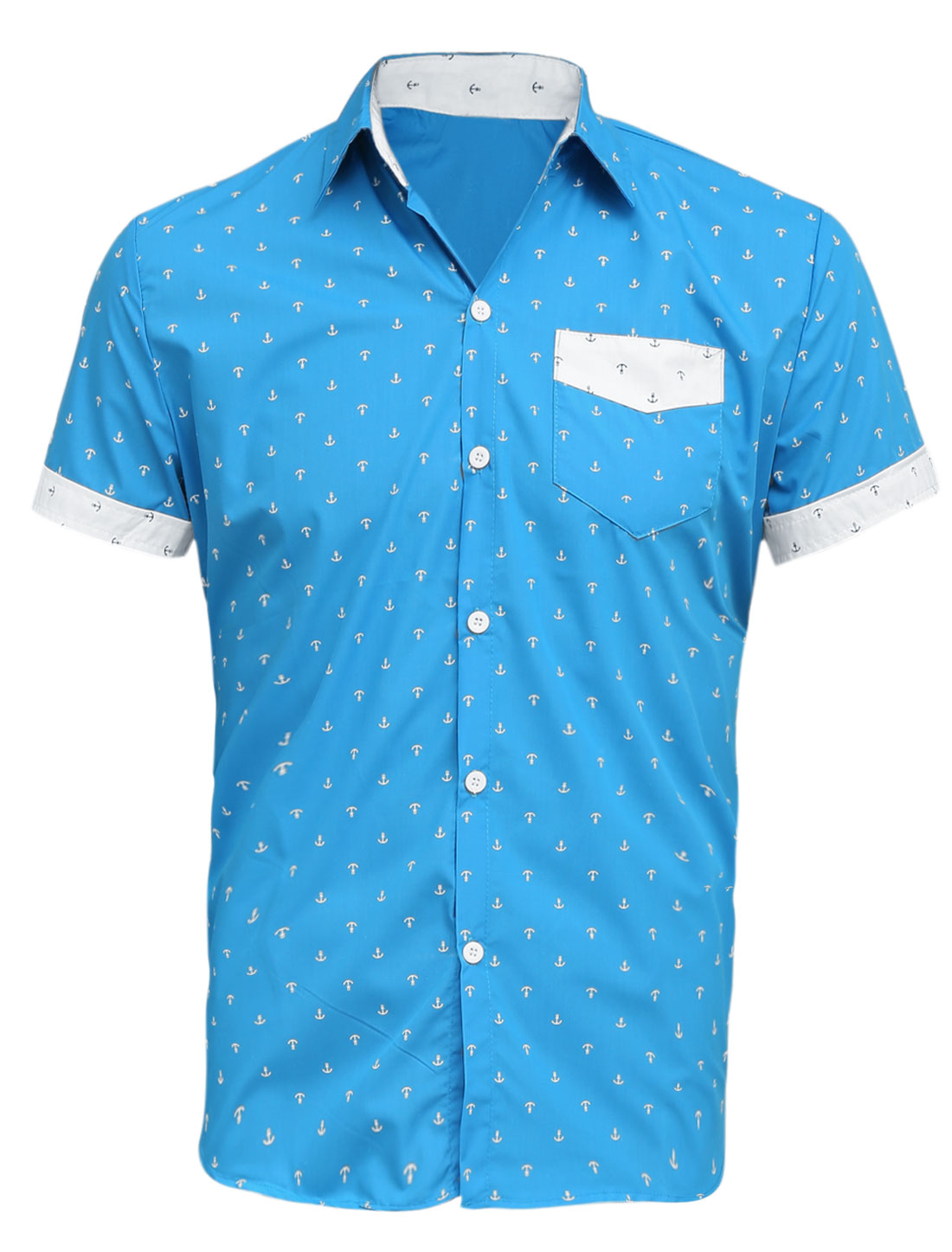 Men Point Collar Anchor Pattern Pocket Slim Fit T-Shirt Light Blue M