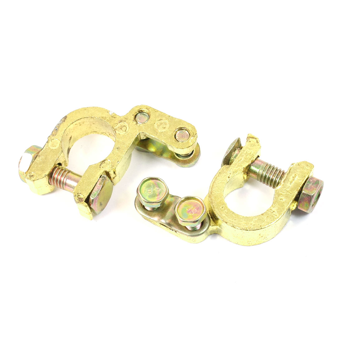 Car Gold Tone Brass Adjustable Battery Terminal Clips Clamps 2 PCS