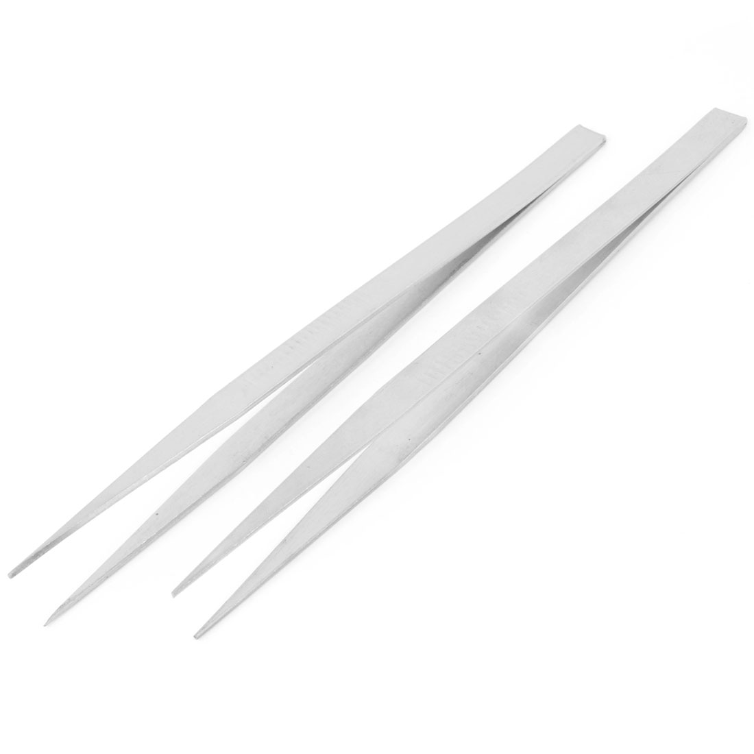 18.5cm Length Silver Tone Forceps Straight Pointy Tweezers 2 Pcs