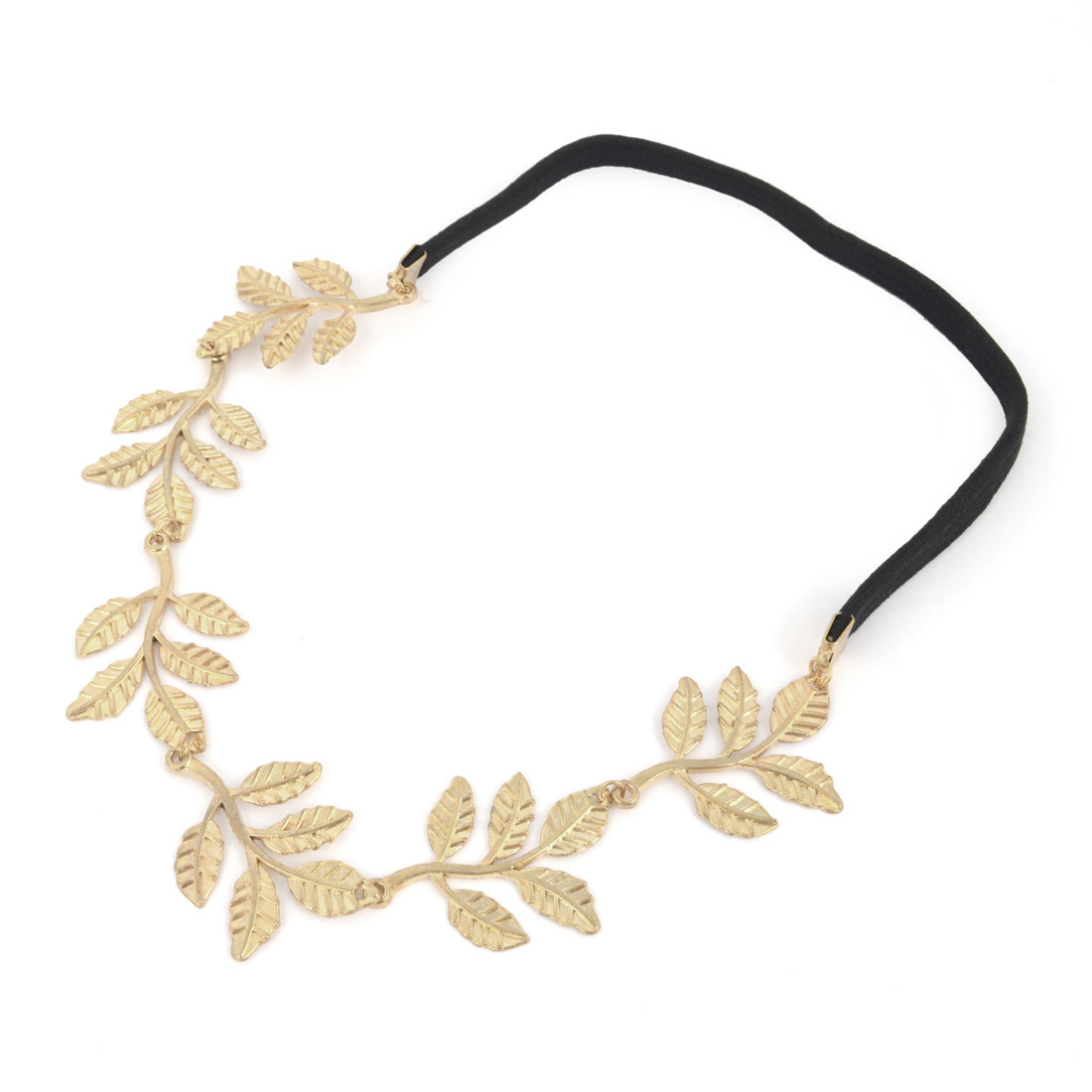 Women Gold Tone Metal Leaves Design Elastic Headband Headwrap Black