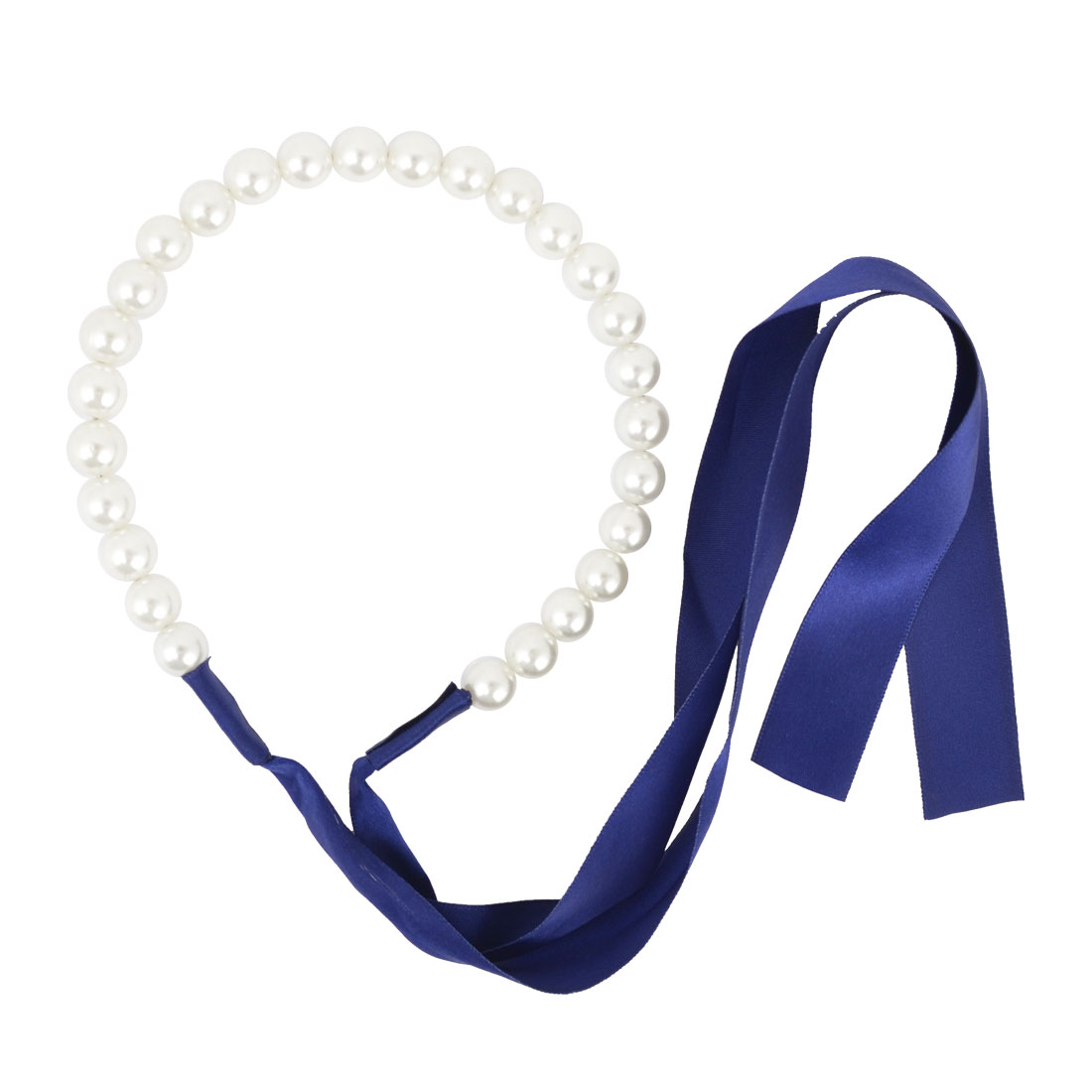 White Faux Pearl Hair Hoop Hairband Headwear Headband Dark Blue for Lady