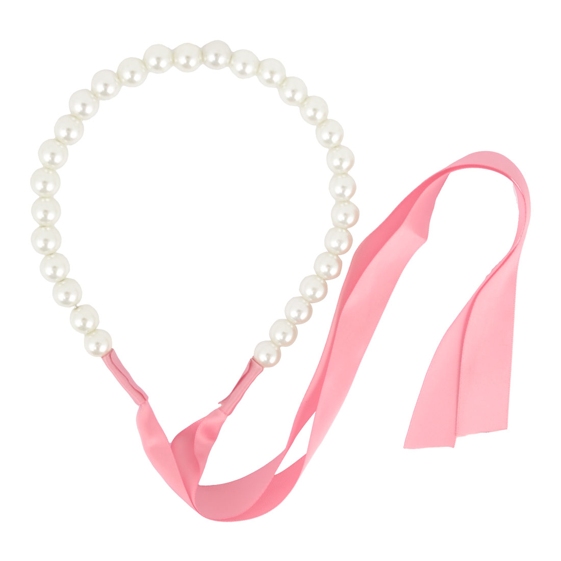 Lady Hairdressing Faux Pearl Ornament Hair Hoop Ribbon White Pink