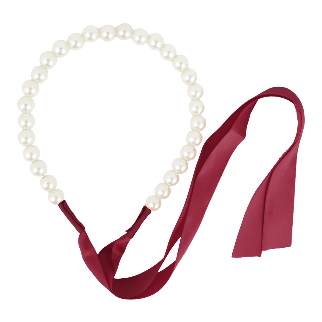 Lady Gift Red Ribbon White Faux Pearl Decoration Hair Hoop Hairband