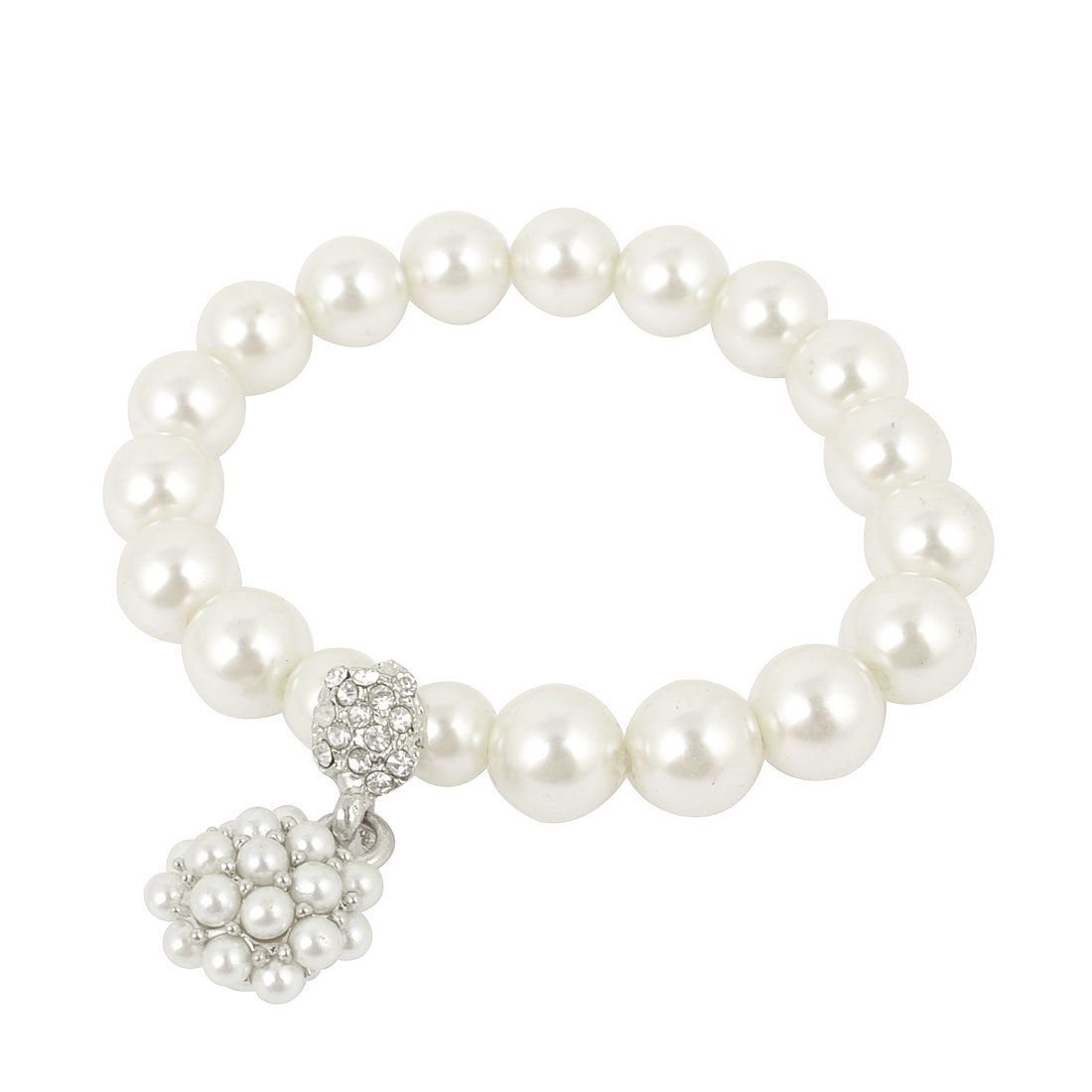 Women Faux Pearl Silver Tone Chain Bracelet Wrist Ornament White