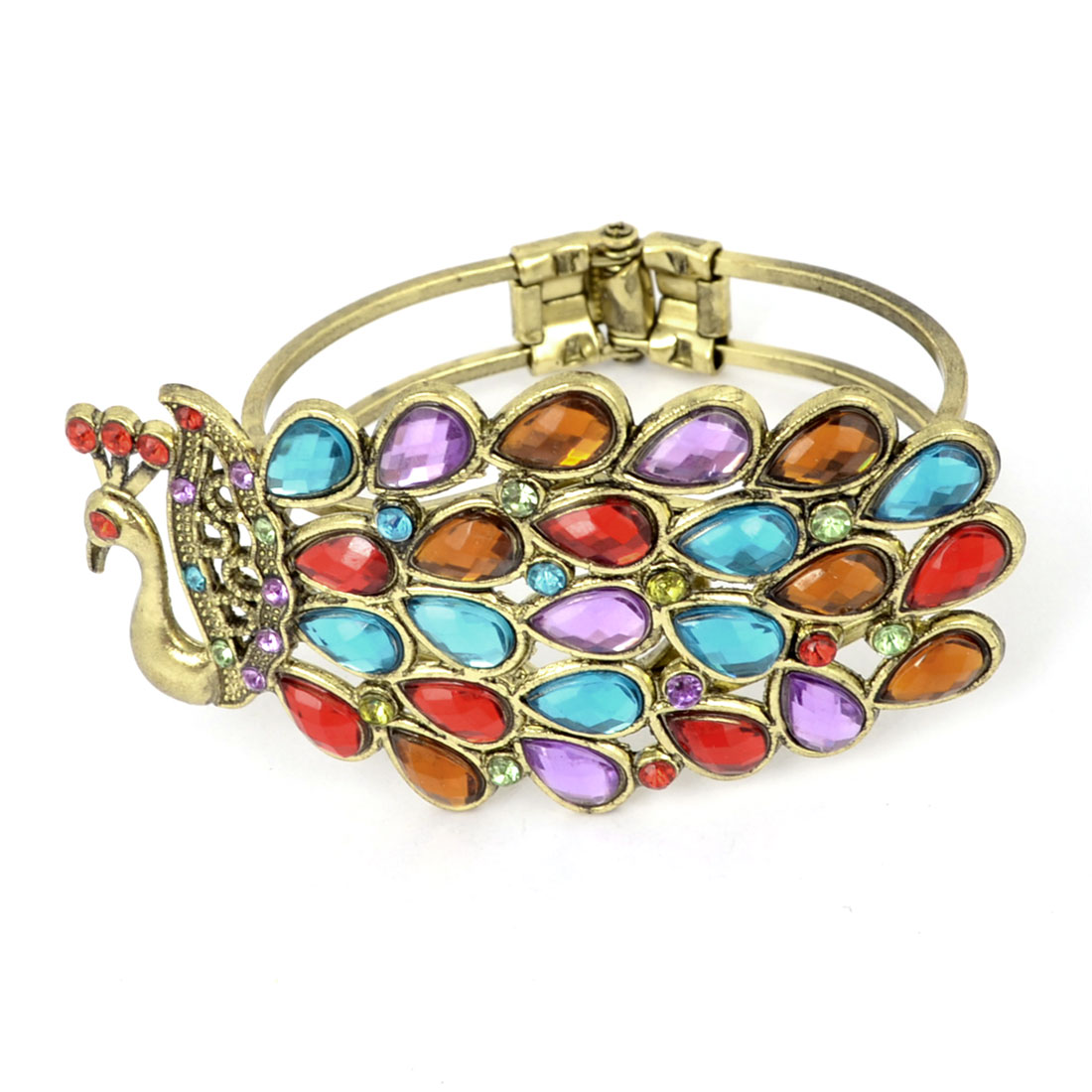 Colorful Rhinestones Inlaid Peacock Bangle Wrist Bracelet Ornament for Ladies