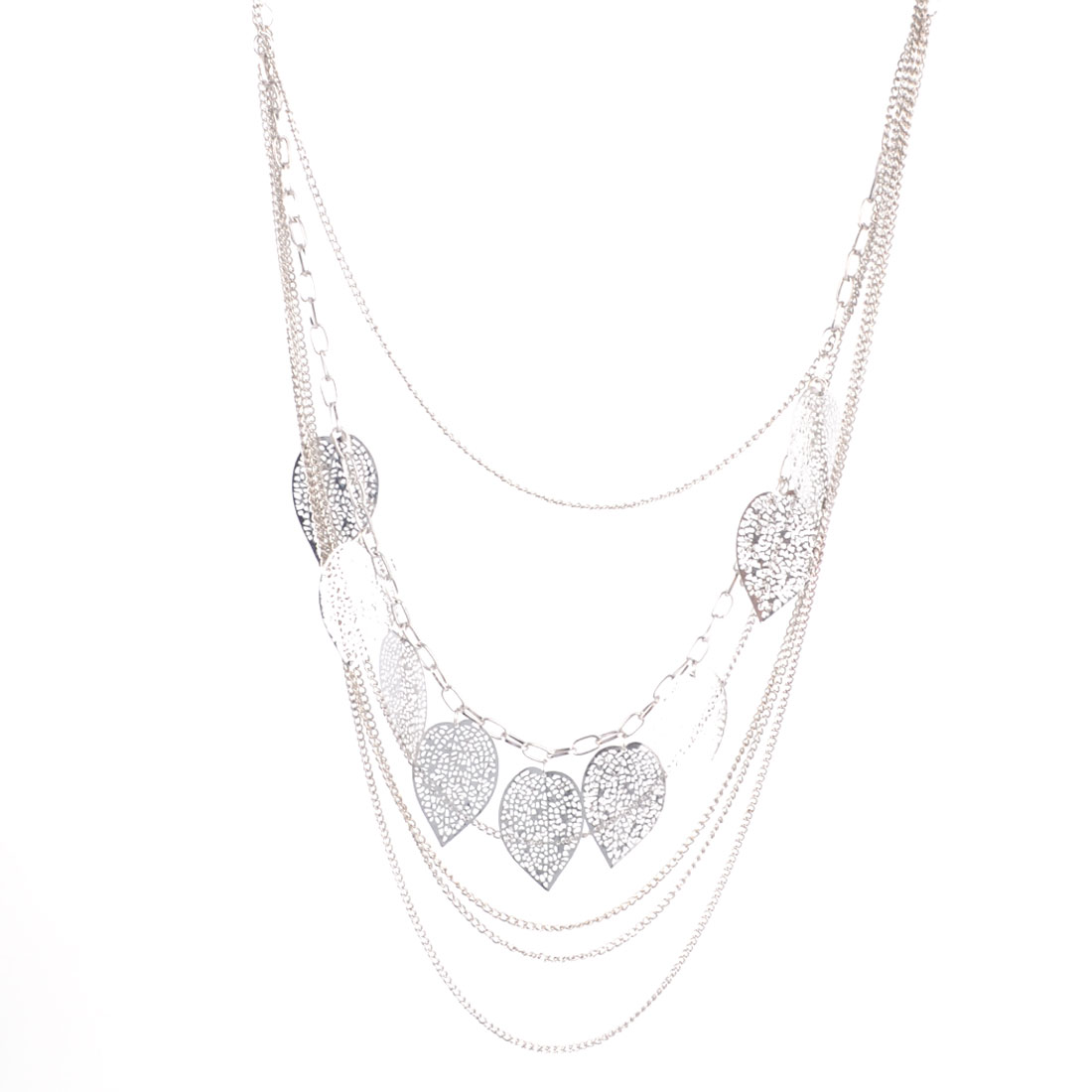 Ladies Silver Tone Metal Leaves Embellished Blouse Sweater Necklace Chain Ornament