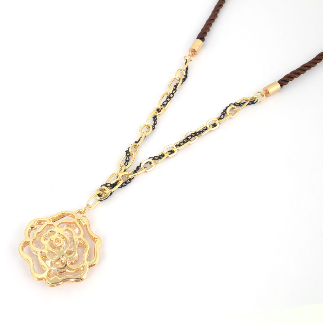 Women Neck Decor Gold Tone Metal Rose Hollow Out Flower Pendant Brown String Necklace