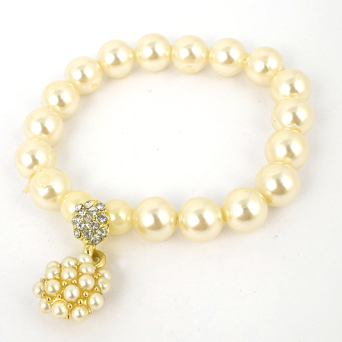 Women Faux Pearls Decor Gold Tone Dangle Stretchy Chain Bracelet