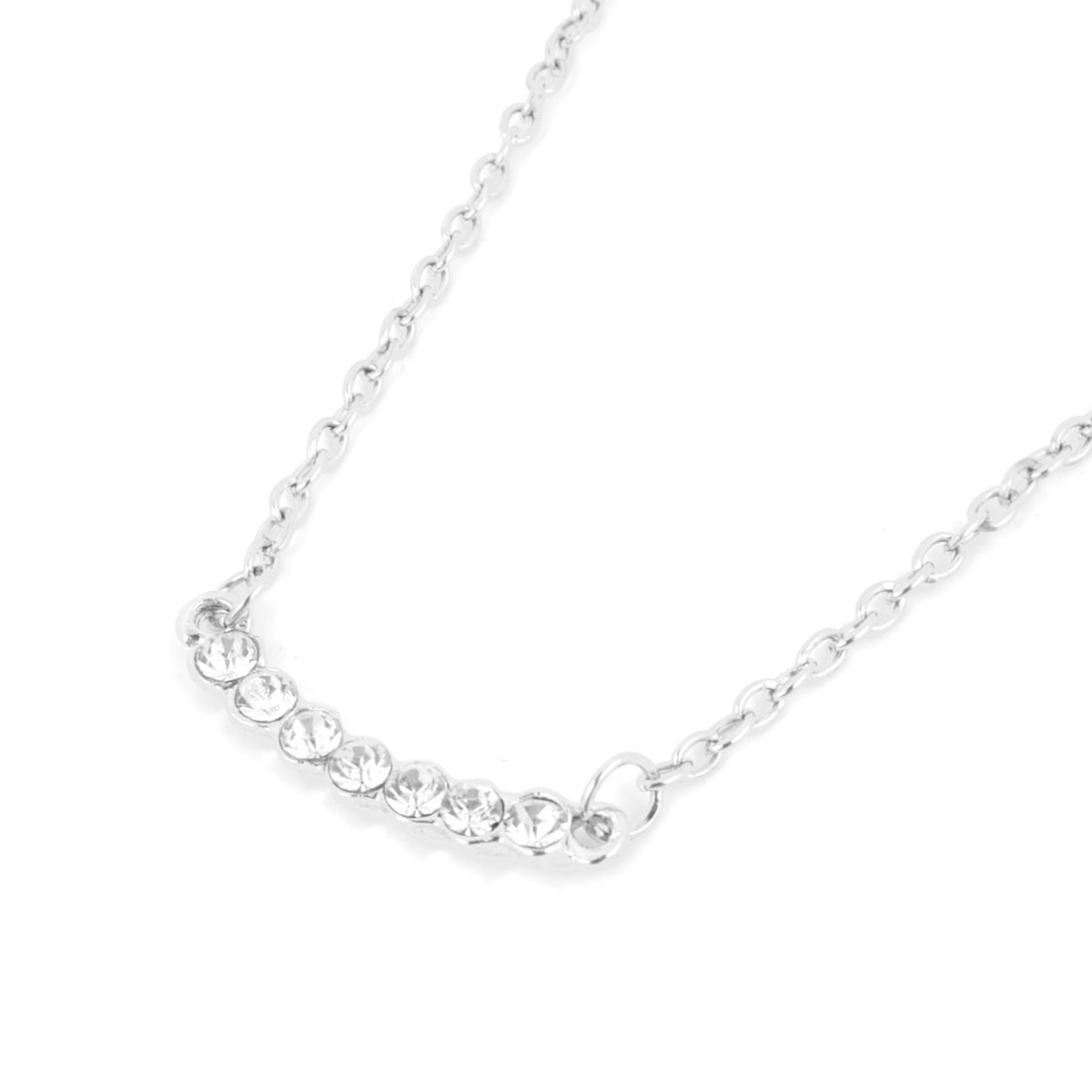 Lady Glittery Rhinestone Inlaid Silver Tone Chain Necklace Neck Decor