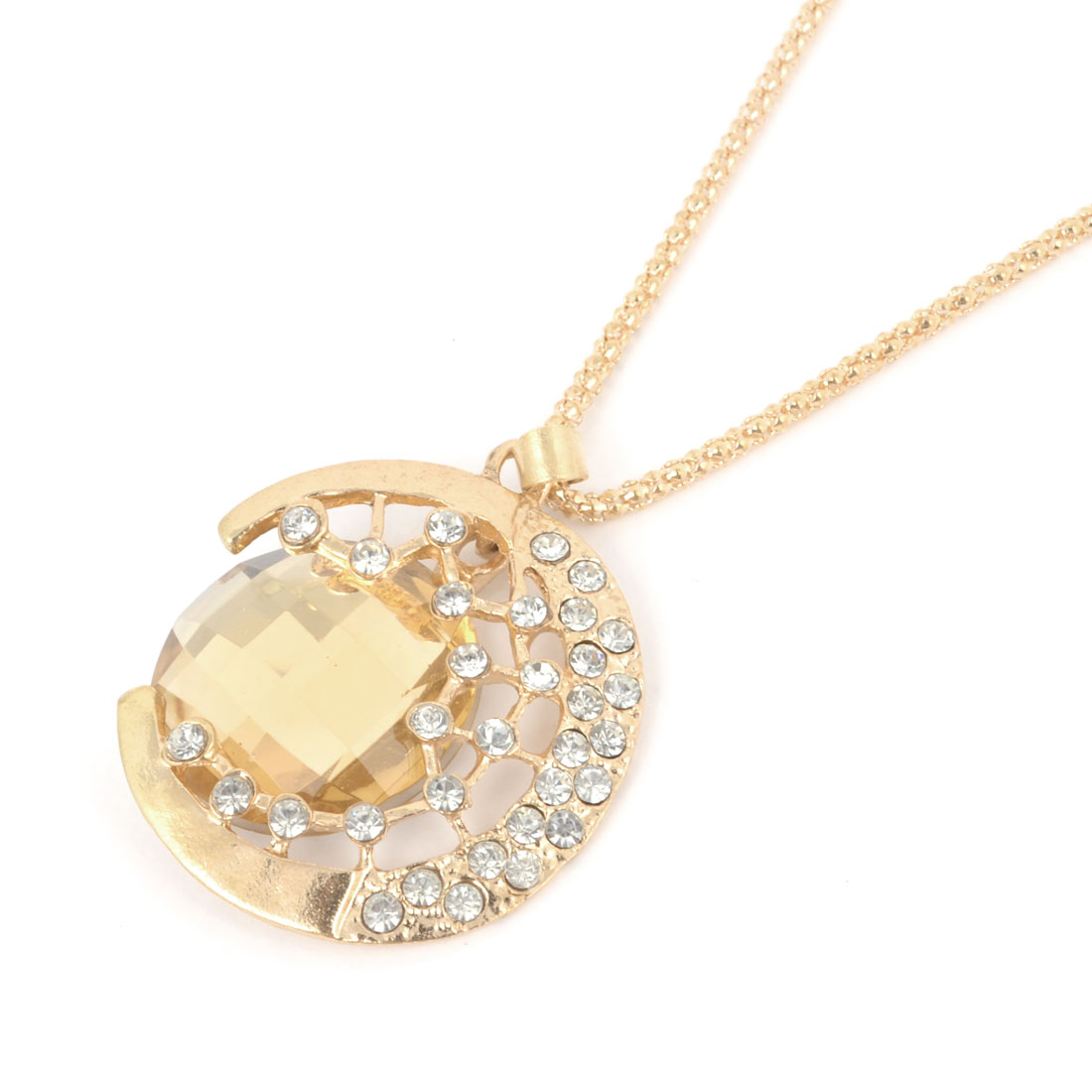 Rhinestones Inlaid Faux Crystal Moon Pendant Gold Tone Necklace for Woman