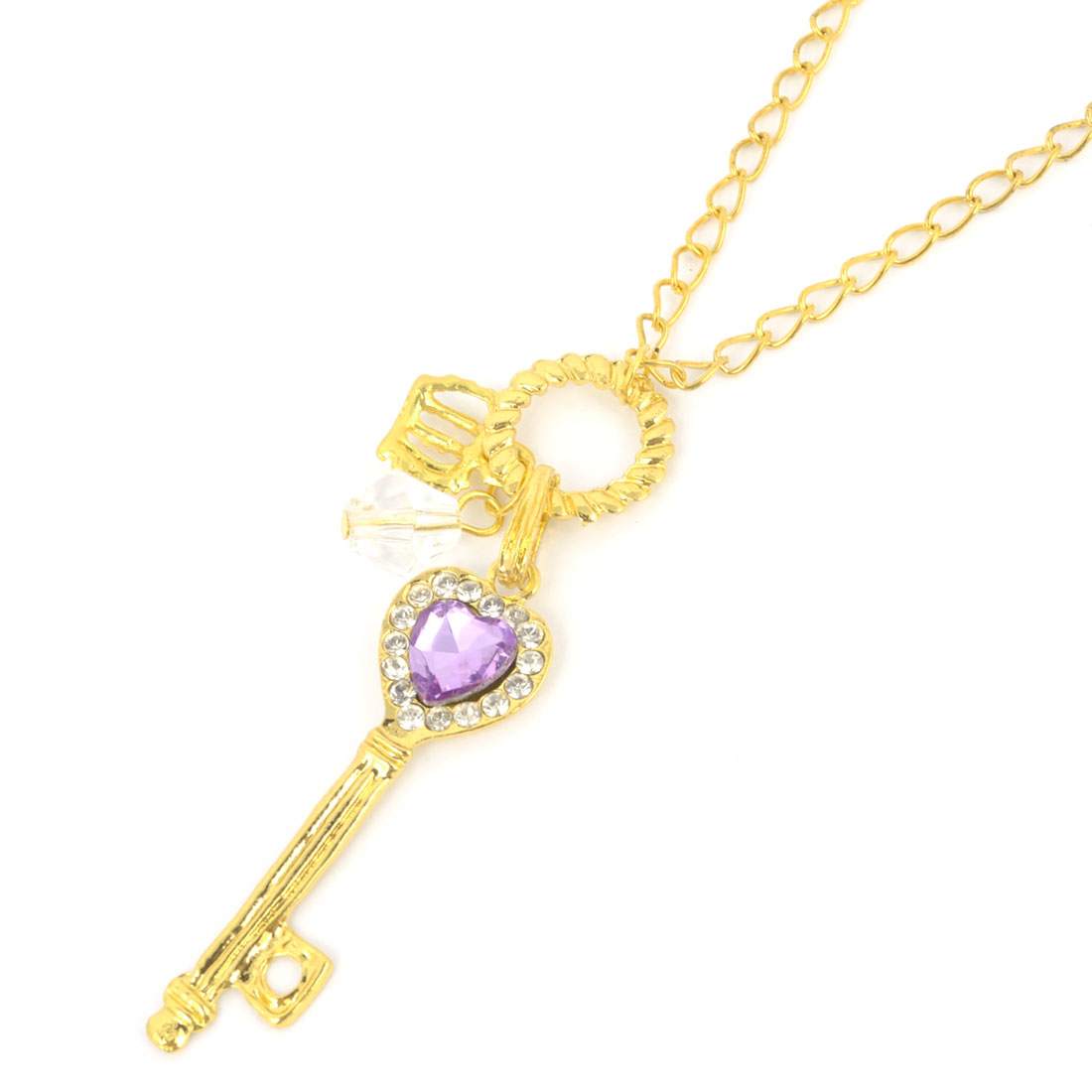 Ladies Purple Faux Crystal Detail Heart Shape Key Dangle Gold Tone Necklace