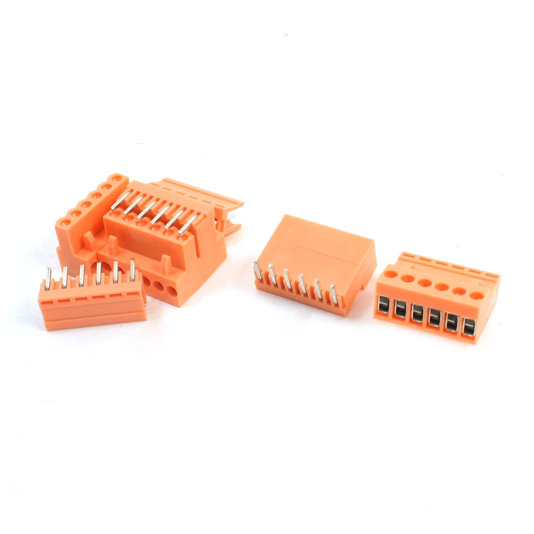 5 Pcs AC 300V 10A 6-Pin 3-Position Pluggable Type PCB Mounting Orange Plastic Screw Terminal Barrier Block Connector