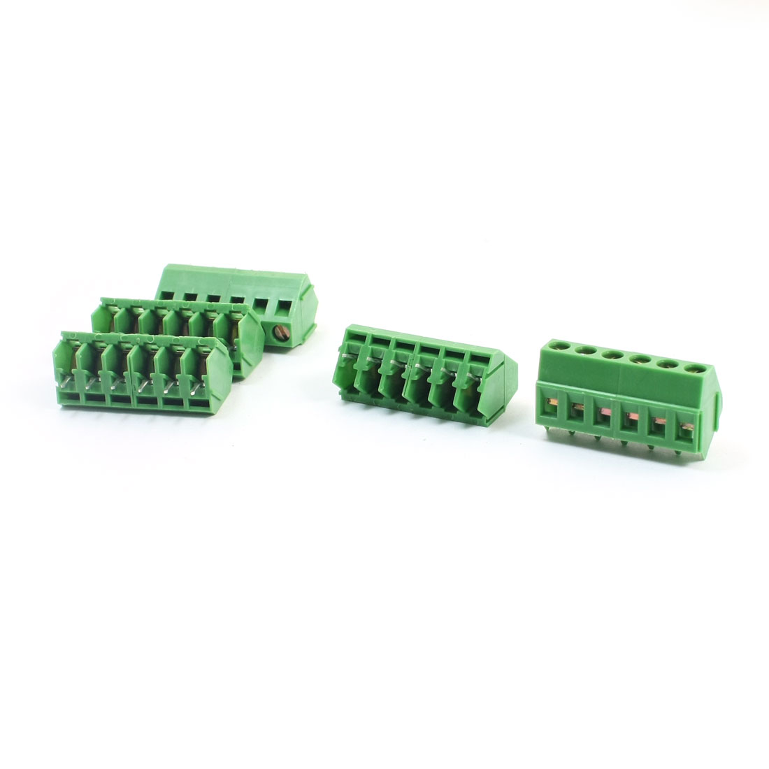 5Pcs 5mm Pitch 6 Pins Plug in Type Through Hole Mounting PCB Screw Terminal Barrier Block Connector