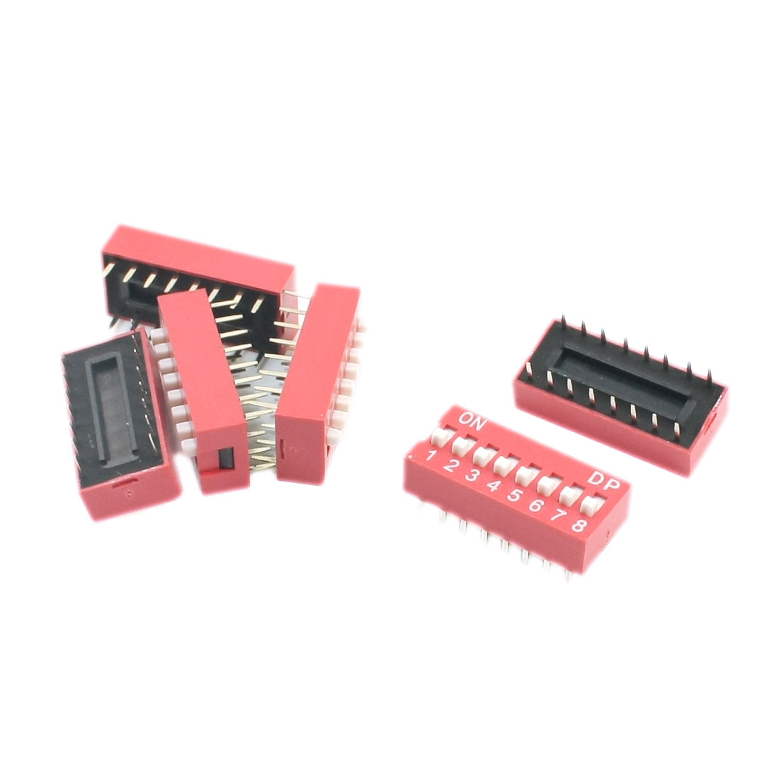 5Pcs 2.54mm Pitch Double Row 8-Bit 8-Position 16Pin Through Hole Mount PCB Slide Type DIP Switches Red