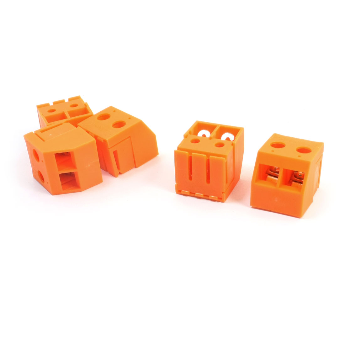 5 Pcs AC750V 30A 10mm Spacing 2-Pole 24-8AWG Wire Orange Transformer Screw Terminal Barrier Block Connector w Cover
