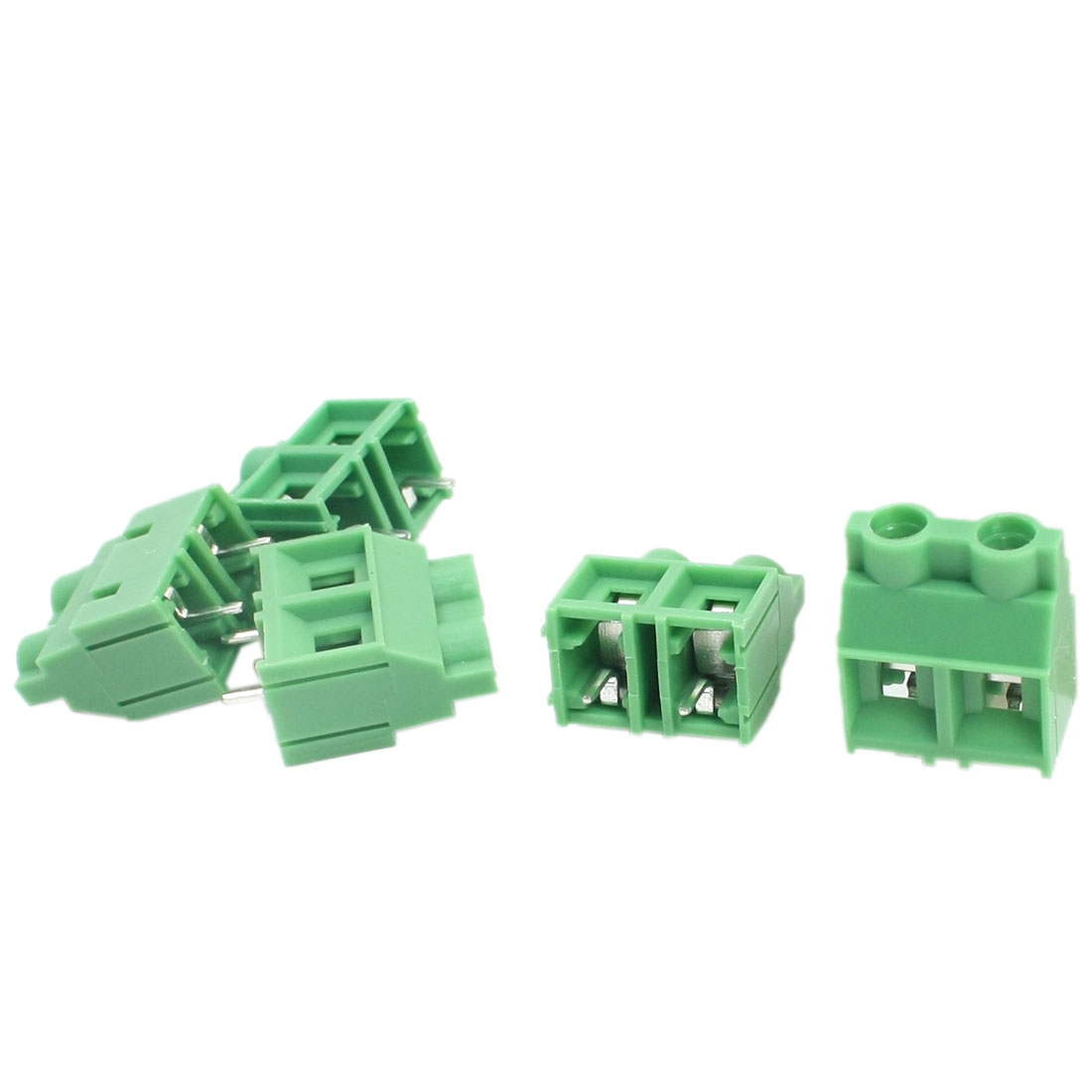 5Pcs 300V 30A 8.5mm Spacing 2P in Through Hole Mounting Green PCB Screw Terminal Barrier Block Connector