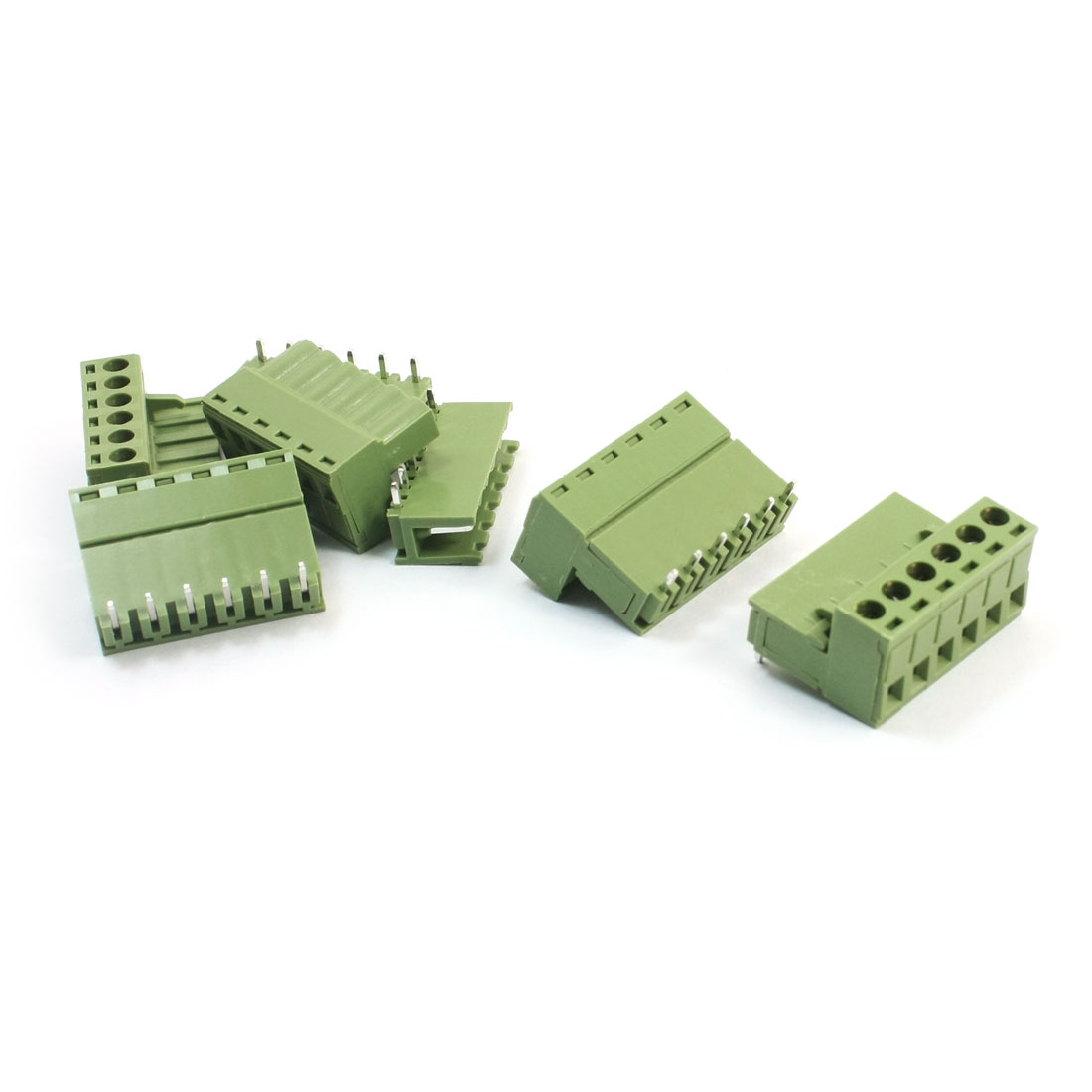 5.08mm Pitch 6Pin 90 Degree Pluggable in PCB Mount Screw Terminal Barrier Block Connector 300V 10A 5Pcs