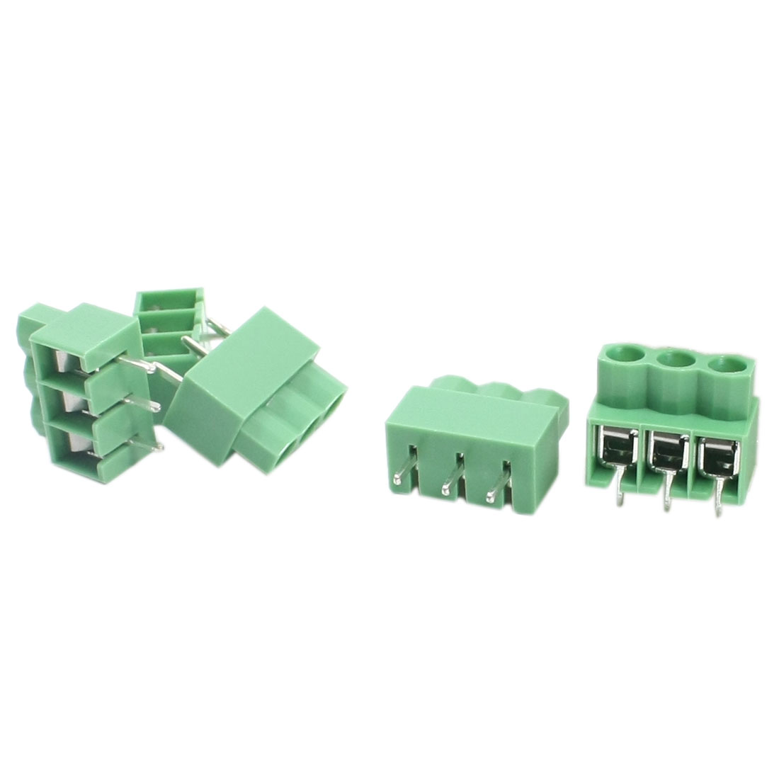 5Pcs KF166-3P 300V 2A 5mm Spacing 3Pole in Through Hole Mounting Green PCB Screw Terminal Barrier Block Connector