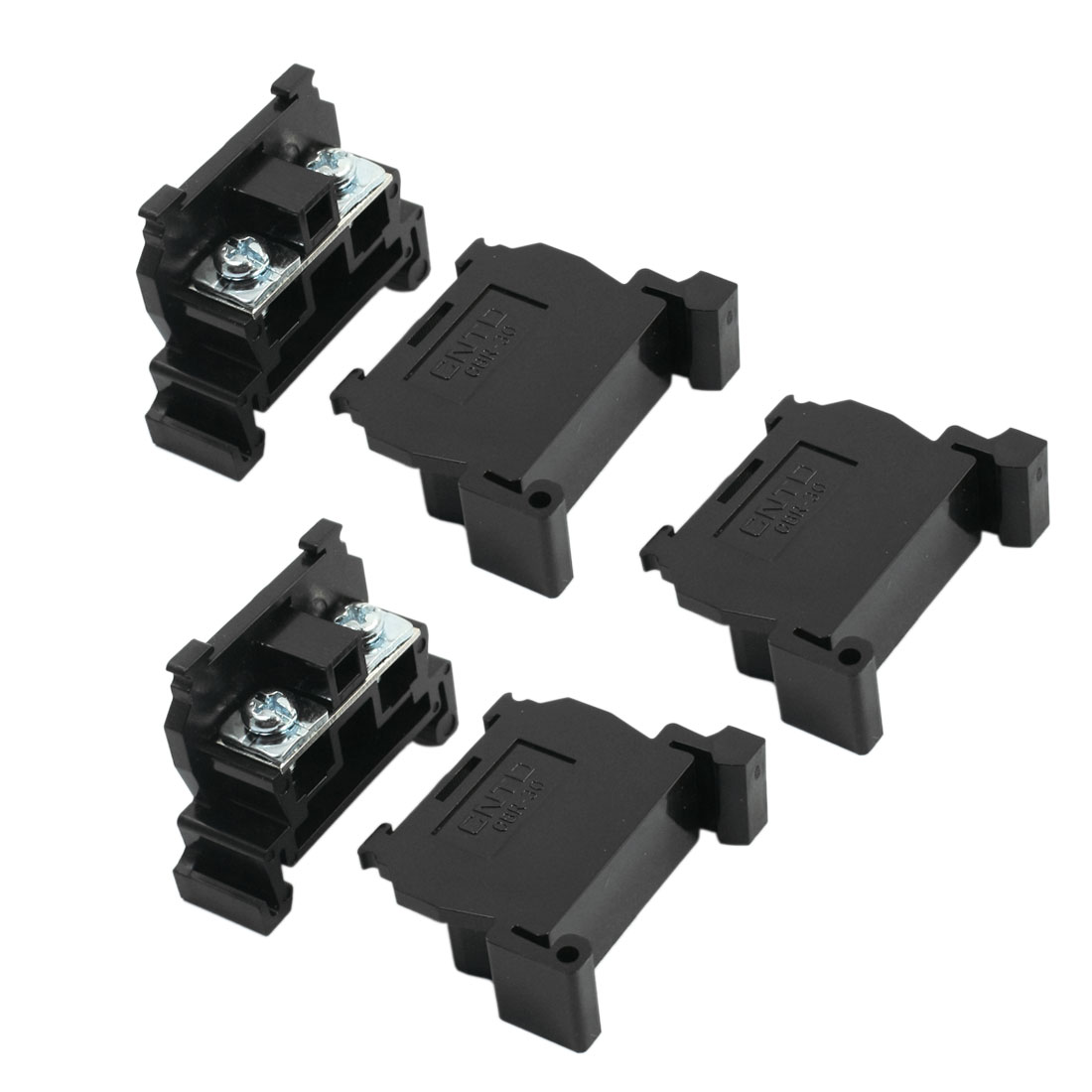 TBR-30A 600V 30A 2.5-4mm2 DIN Rail Mounting Plastic Cable Connecting Dual Screw Terminal Barrier Block 5Pcs