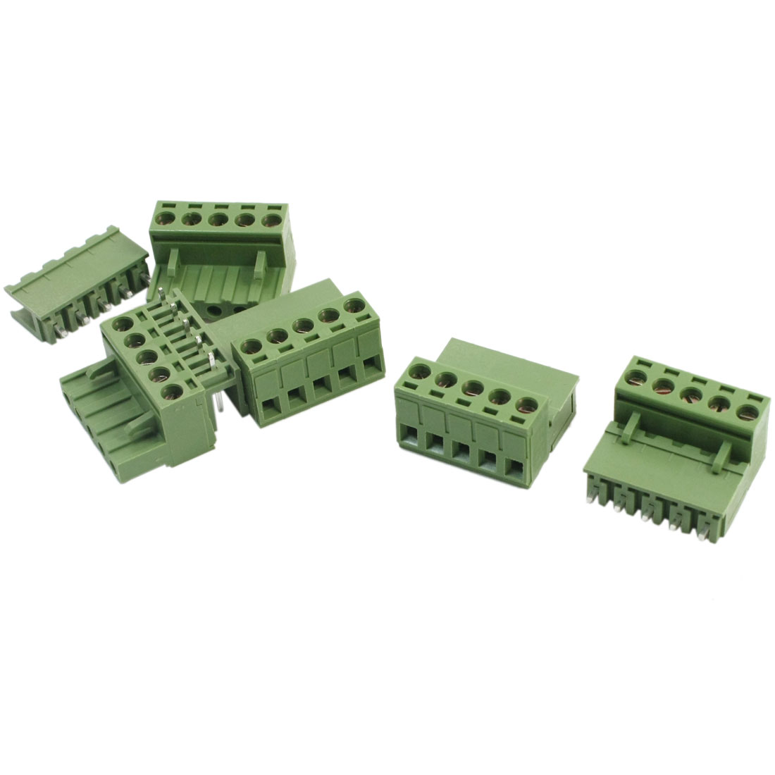 5.08mm Pitch 5Pin Pluggable in PCB Mount Green Plastic Screw Terminal Barrier Block Connector 300V 10A 5Pcs
