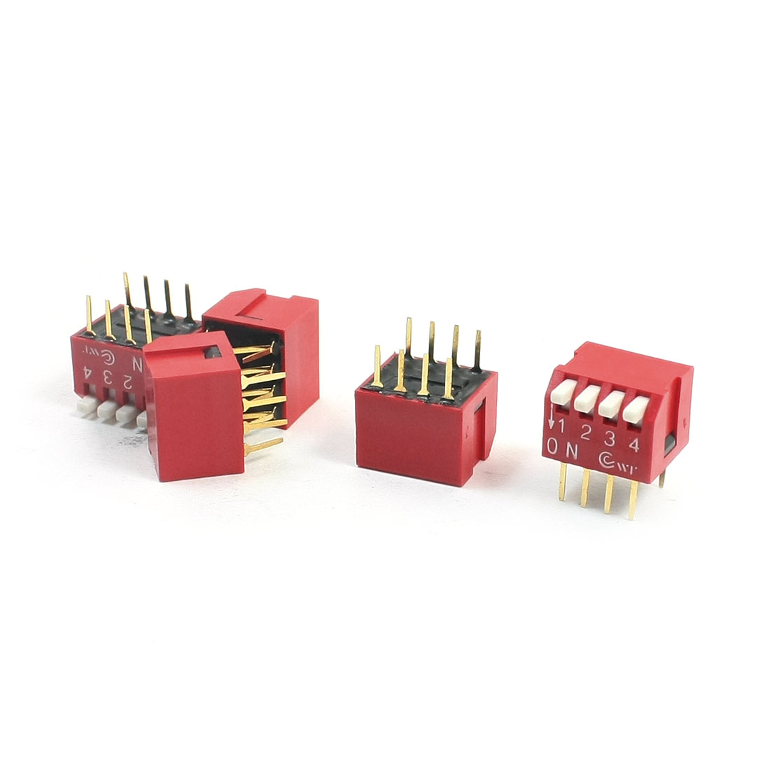 5Pcs 2.54mm Pitch 2-Row 4-Bit 8 Pin PCB Through Hole Mounting Slide Type DIP Switches Red