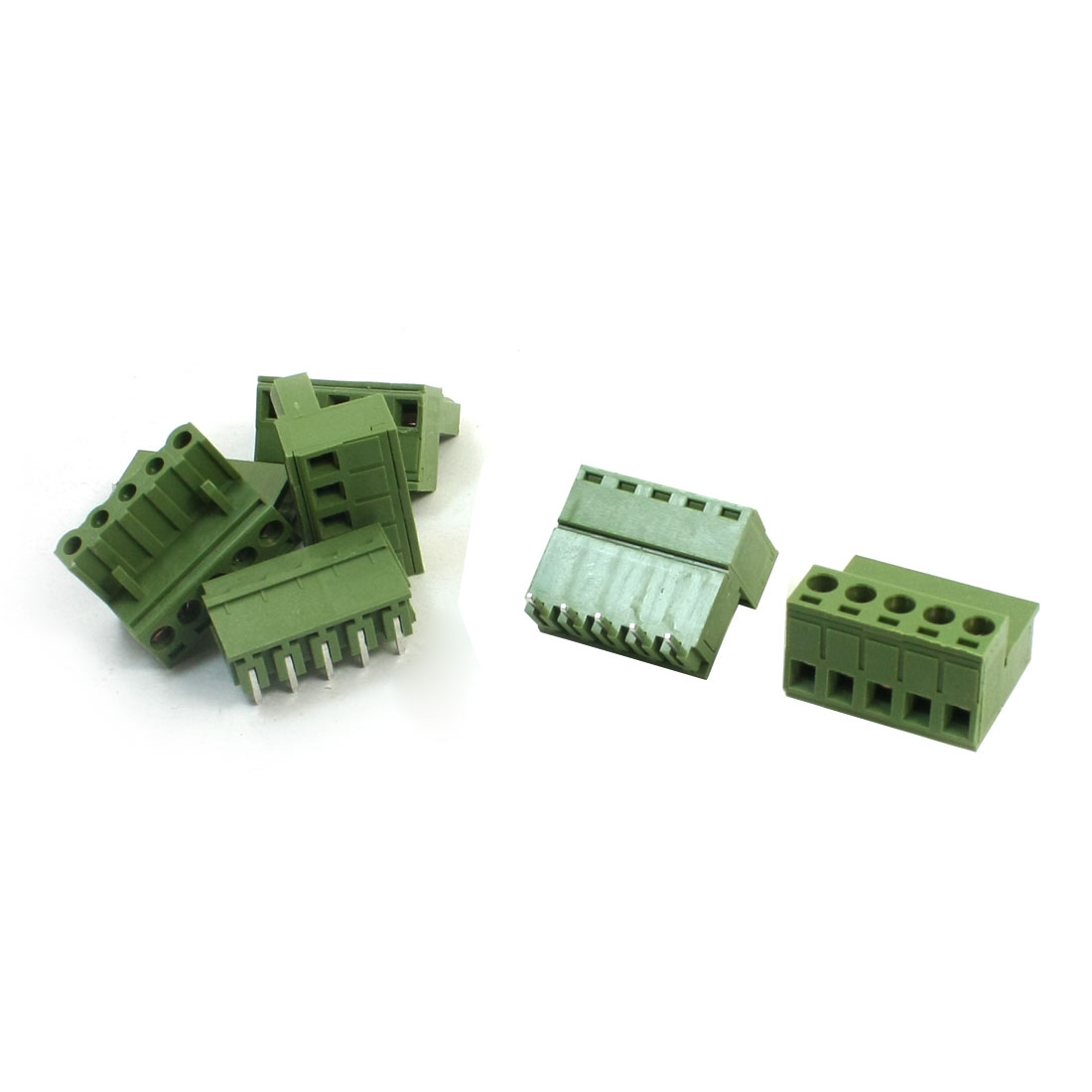5Pcs 300V 10A 5.08mm Pitch 12-24AWG 5 Pole Pluggable in PCB Mount Screw Terminal Barrier Block Connector Green