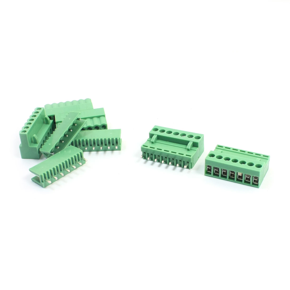 AC300V 10A 3.96mm Spacing 14-26AWG 7P Straight Pluggable in Through Hole Mounting Green PCB Screw Terminal Block Connector 5Pcs