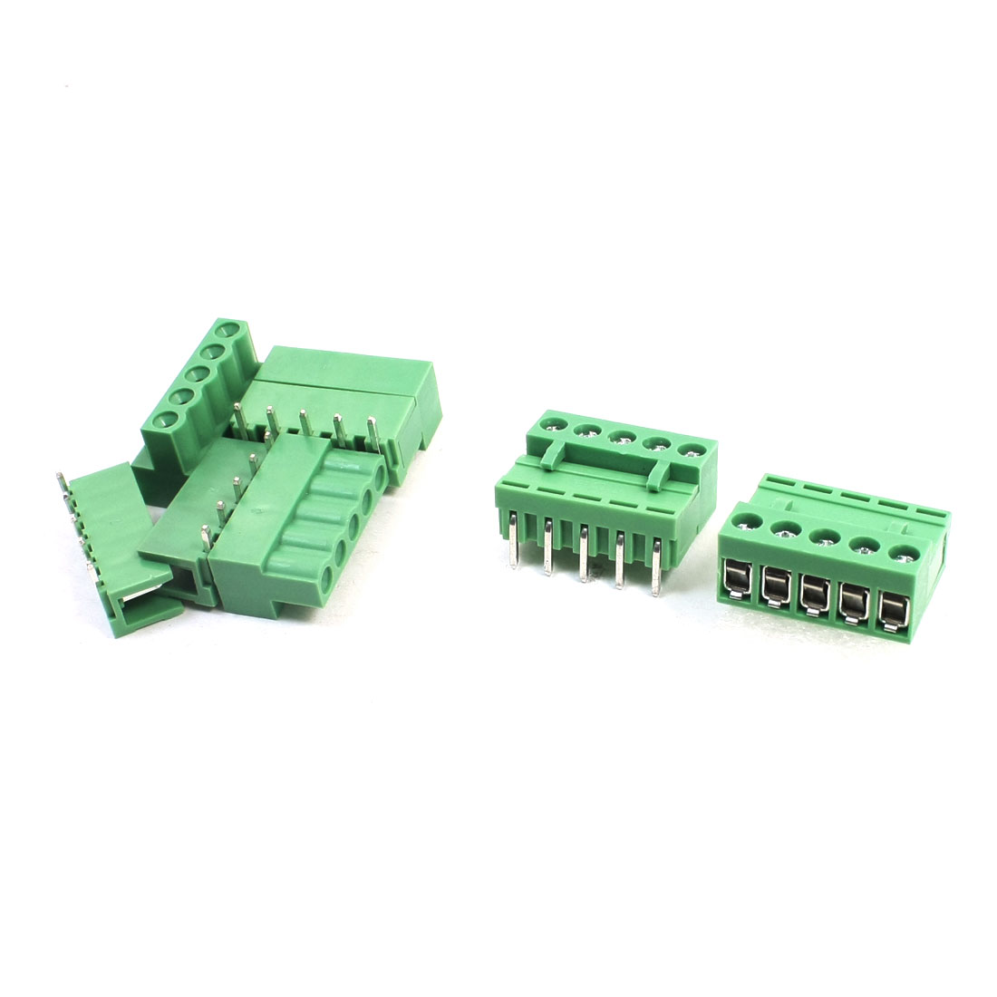 5Pcs 300V 10A 5.08mm Pitch 5-Pin Through Hole Pluggable Type PCB Screw Terminal Barrier Block Connector for 14-26AWG Wire