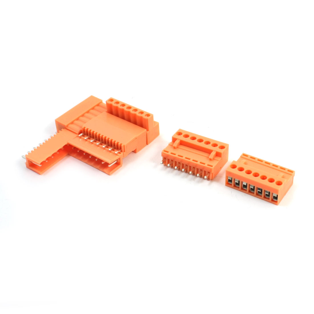 5Pcs 7-Pin Pluggable Type PCB Mounting Orange Plastic Screw Terminal Barrier Block Connector AC300V 10A