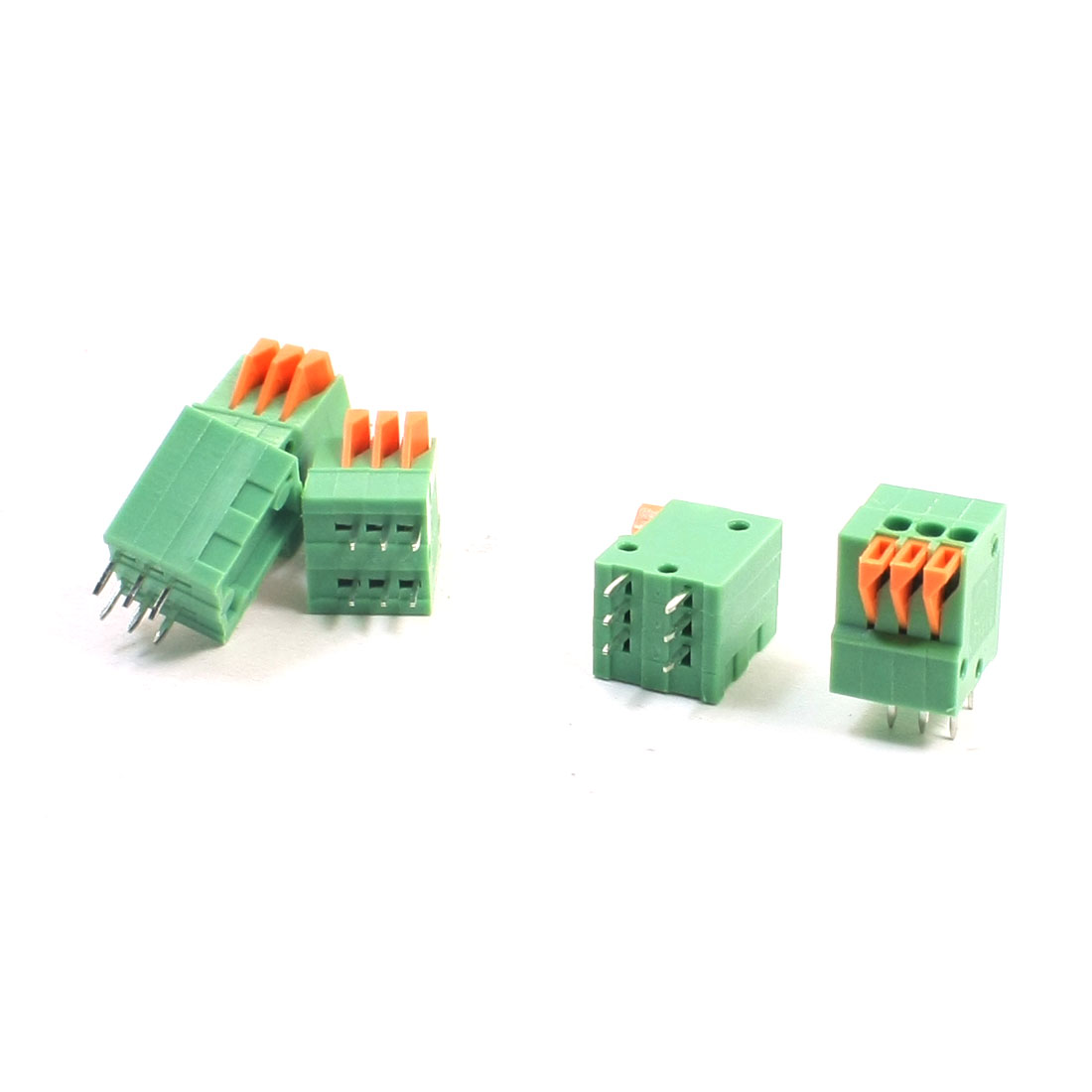 5Pcs 2.54mm Pitch 6-Pin 3-Bit 3-Position DIP Pluggable Type PCB Through Hole Screwless Terminal Barrier Block Connector