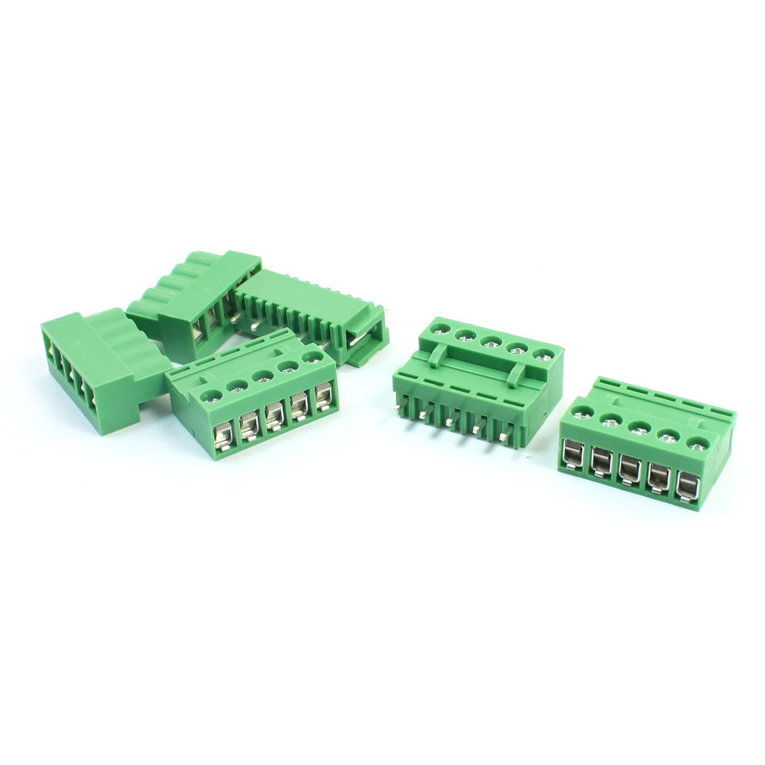 5Pcs 300V 10A 5.08mm Spacing 5P Pluggable Through Hole Mounting Green PCB Screw Terminal Barrier Block Connector