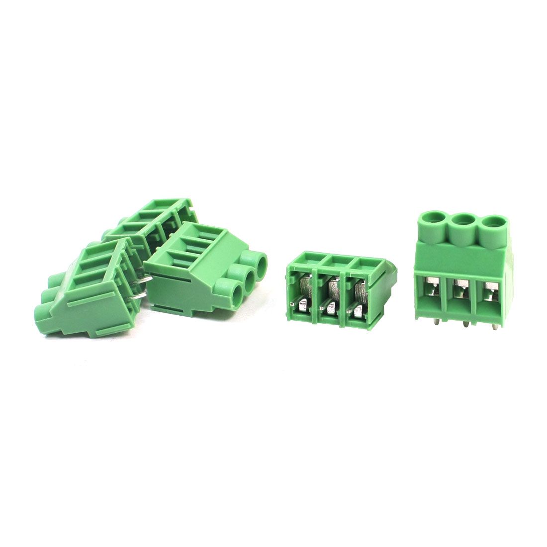 5 Pcs KF635 300V 6.35mm Spacing 4-Pole Through Hole Mounting PCB Screw Terminal Barrier Block Connector