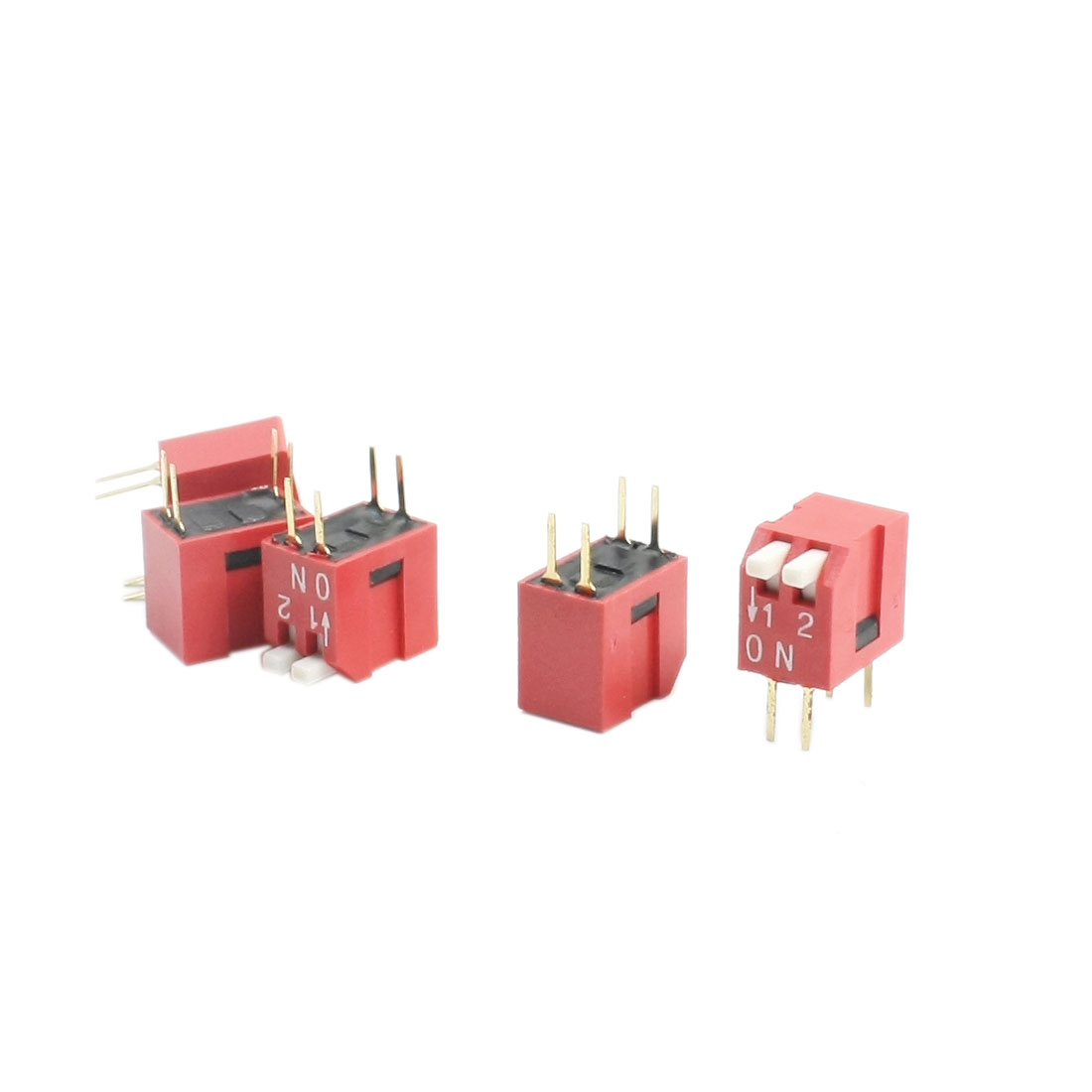 5Pcs 2.54mm Pitch Dual Row 2-Way 4 Pin PCB Through Hole Mounting Slide Type DIP Switches Red