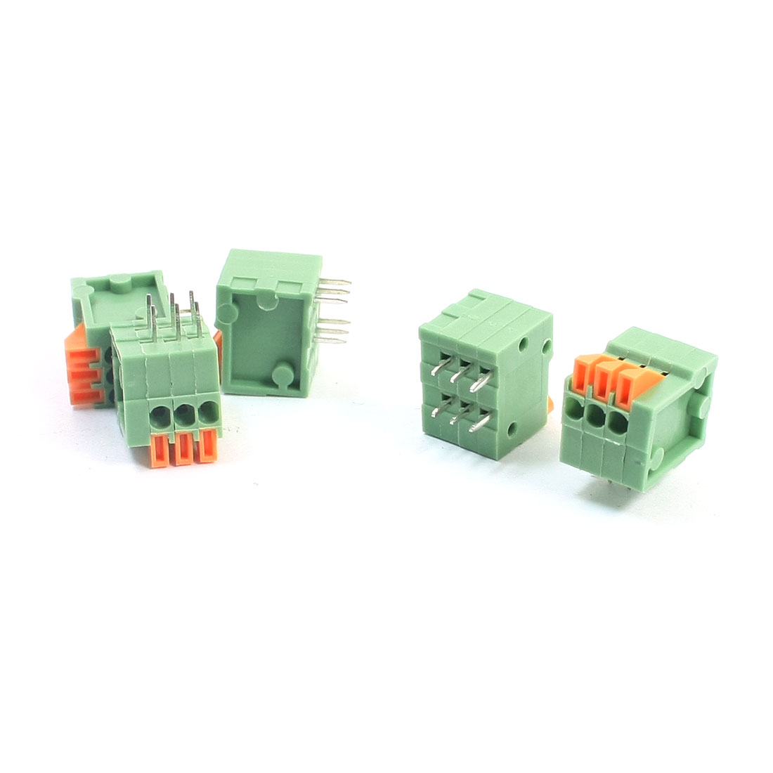 150V 2A 2.54mm Pitch 6-Pin DIP Pluggable Type PCB Mounting Screwless PCB Terminal Barrier Block Connector 5 Pcs