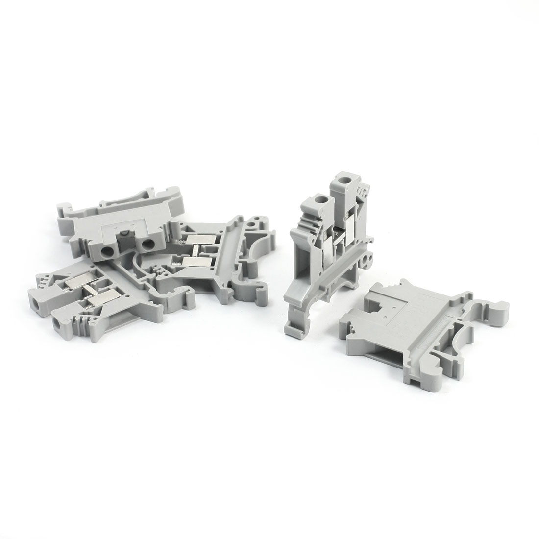 5Pcs UK-2.5B 800V 32A 2.5mm2 DIN Rail Mounting Gray Plastic Screw Clamp Clipping Terminal Block Connector