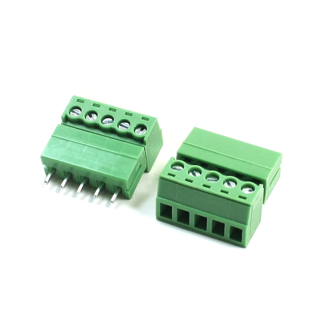 2 Pcs AC 300V 8A 3.81mm Pitch 22-16AWG 5Pin Pluggable Type Through Hole Mounting Green PCB Screw Terminal Block