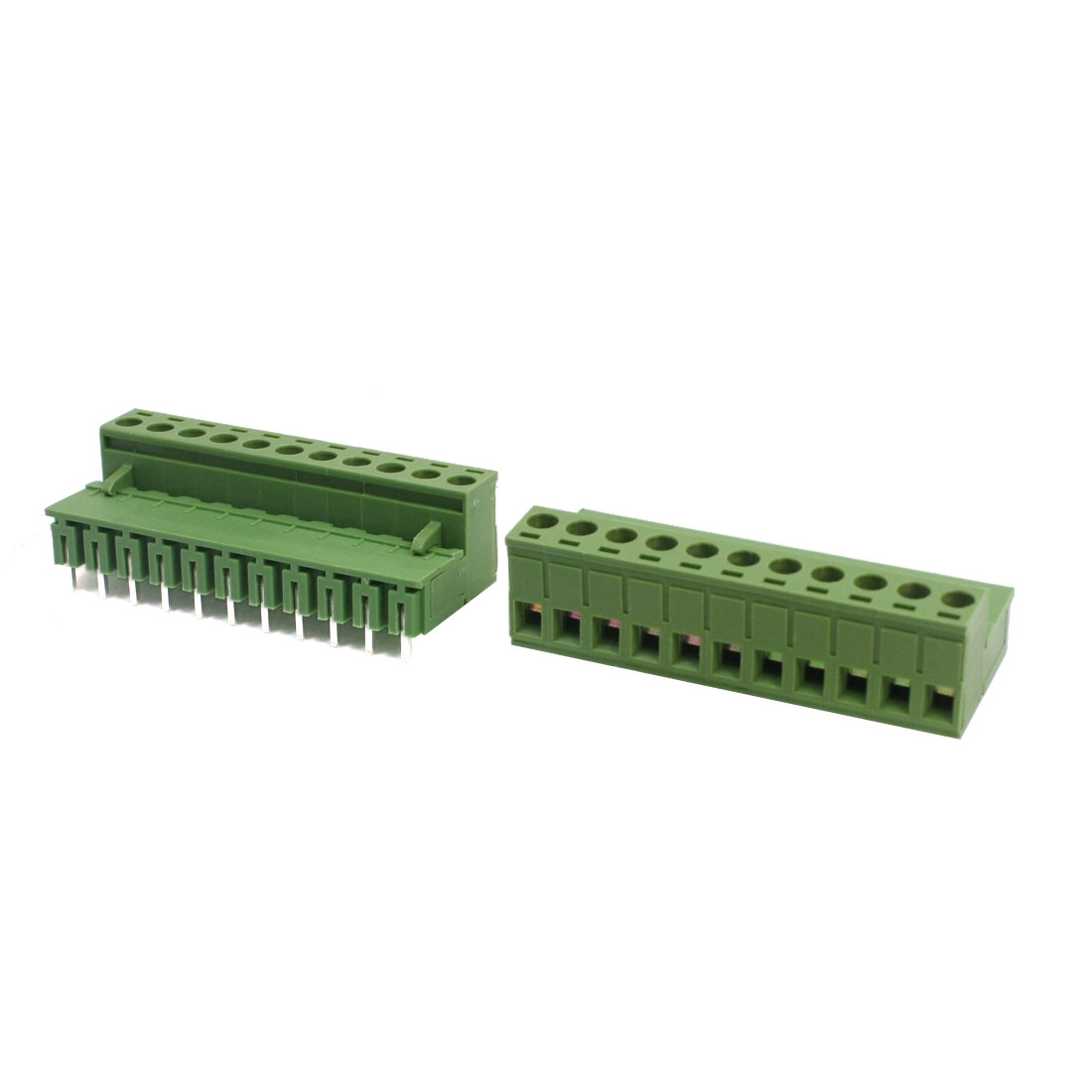 2Pcs 2EDG AC 300V 10A 5.08mm Pitch 12-24AWG 11 Pole Right Angle Pluggable in PCB Mount Plastic Screw Terminal Barrier Block Connector