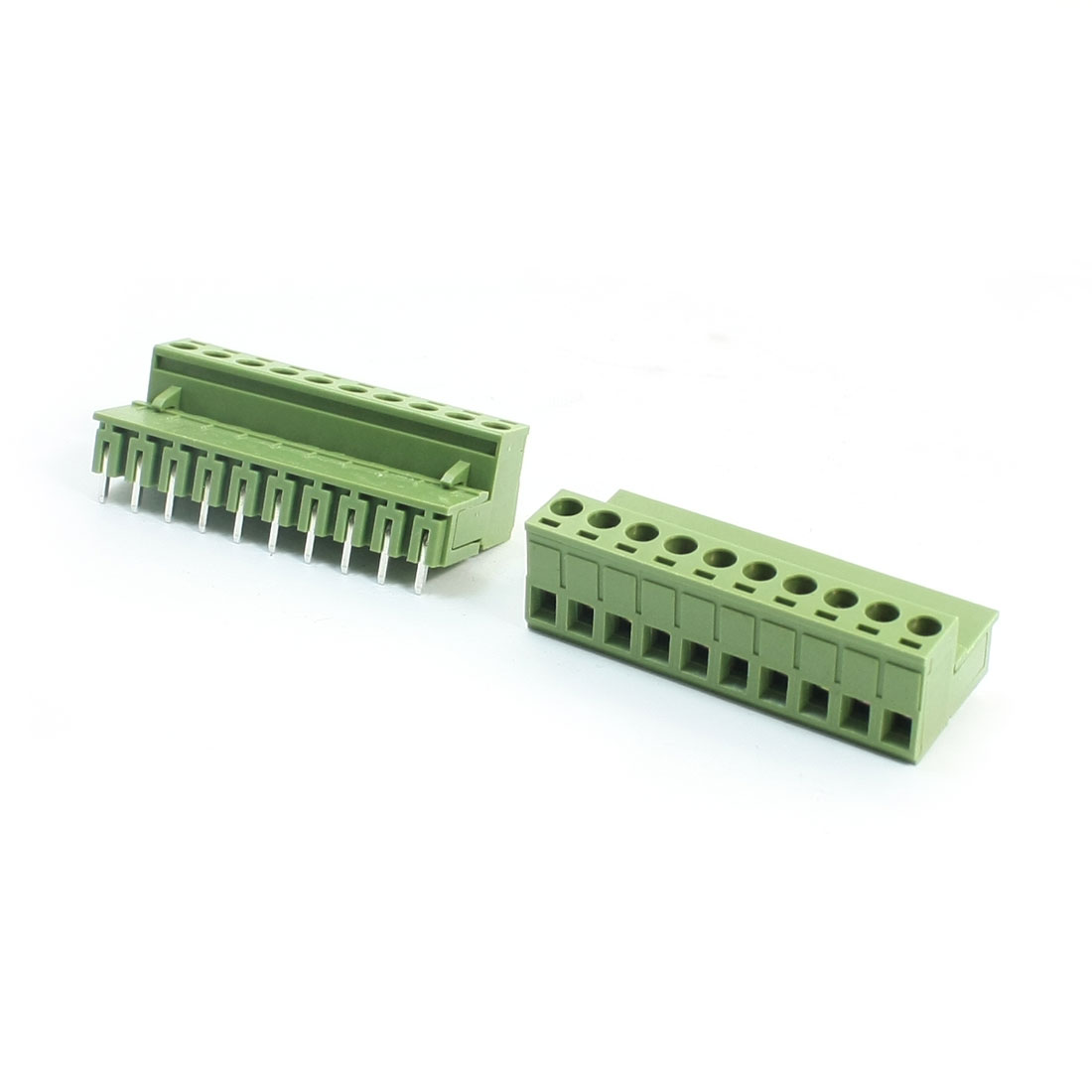 2Pcs AC300V 10A 5.08mm Pitch 10-Pin 10-Pole Right Angle Pluggable PCB Mount Screw Terminal Barrier Block Connector for 12-24AWG Wire