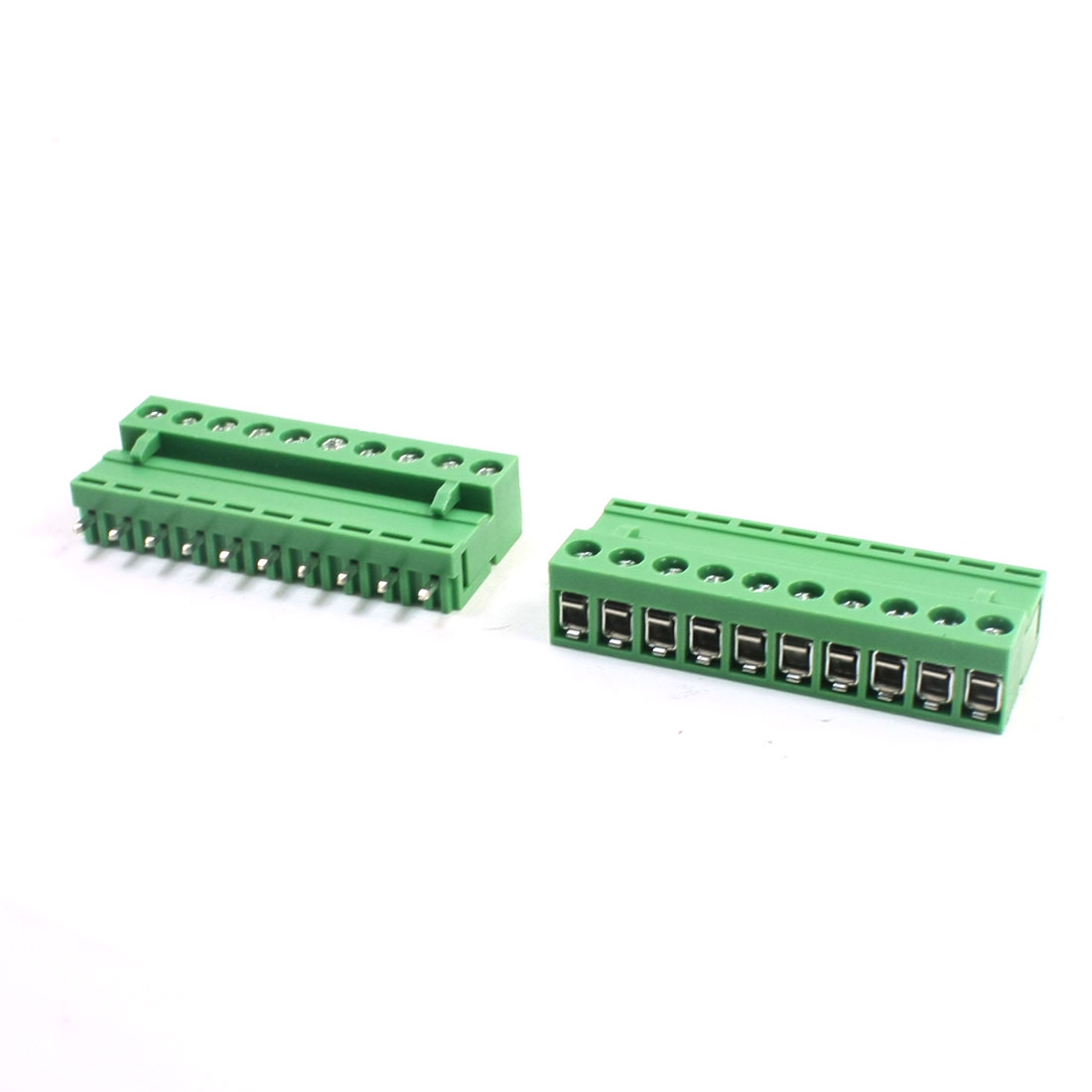 2Pcs AC300V 10A 5.08mm Pitch 10Pin Through Hole Pluggable Type PCB Screw Terminal Barrier Block Connector for 14-26AWG Wire
