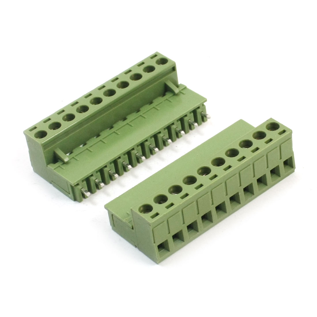 2Pcs AC300V 10A 5.08mm Pitch 10-Pin 10-Pole Pluggable PCB Mount Screw Terminal Barrier Block Connector for 12-24AWG Wire