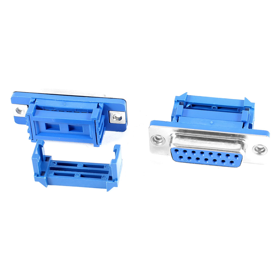 2 Pieces Serial Port DB15 15Pin Female IDC Jack Flat Ribbon Cable Connector Blue