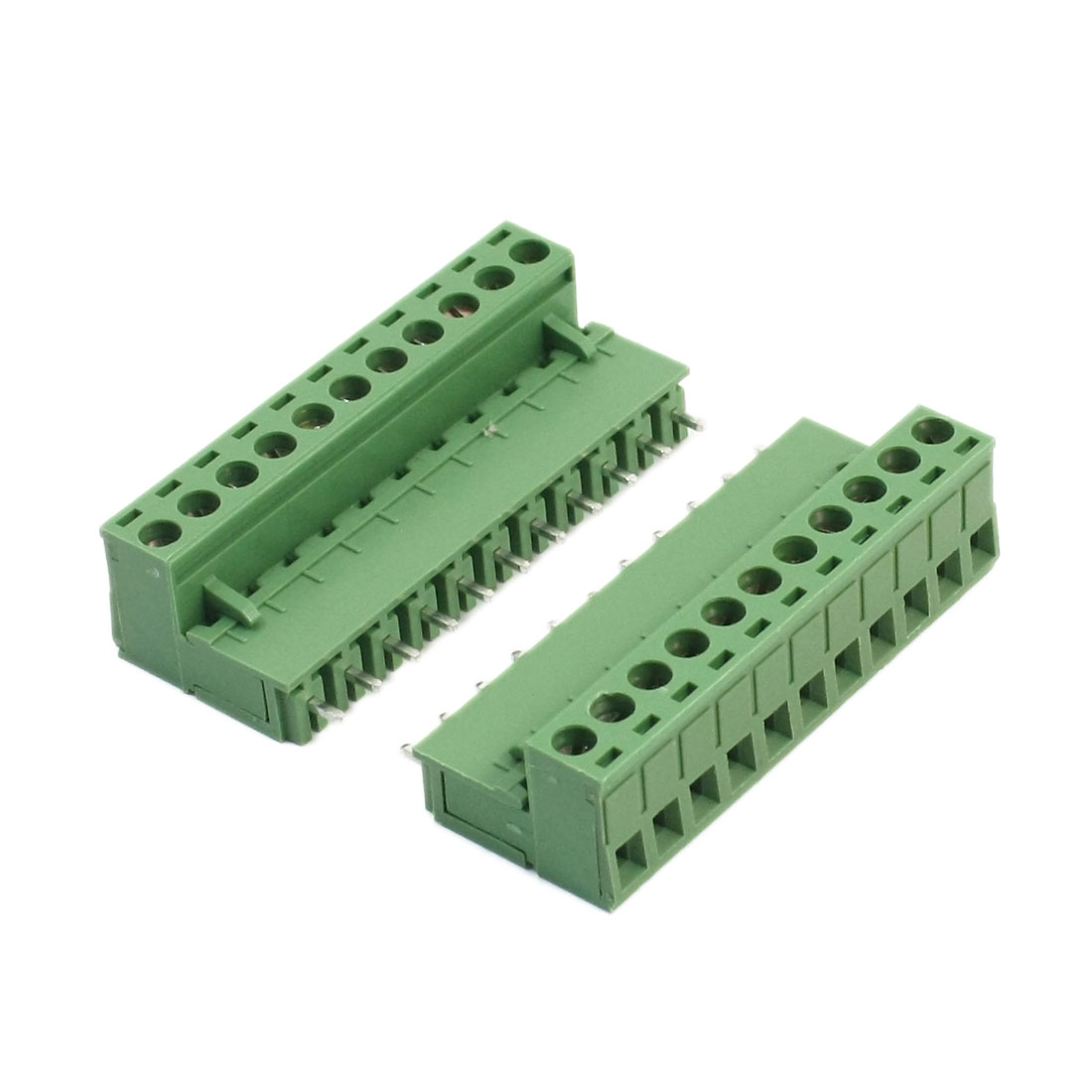 2Pcs 2EDG AC 300V 10A 12-24AWG 5.08mm Pitch 11-Pin PCB Mounting Green Screw Terminal Barrier Block Connector