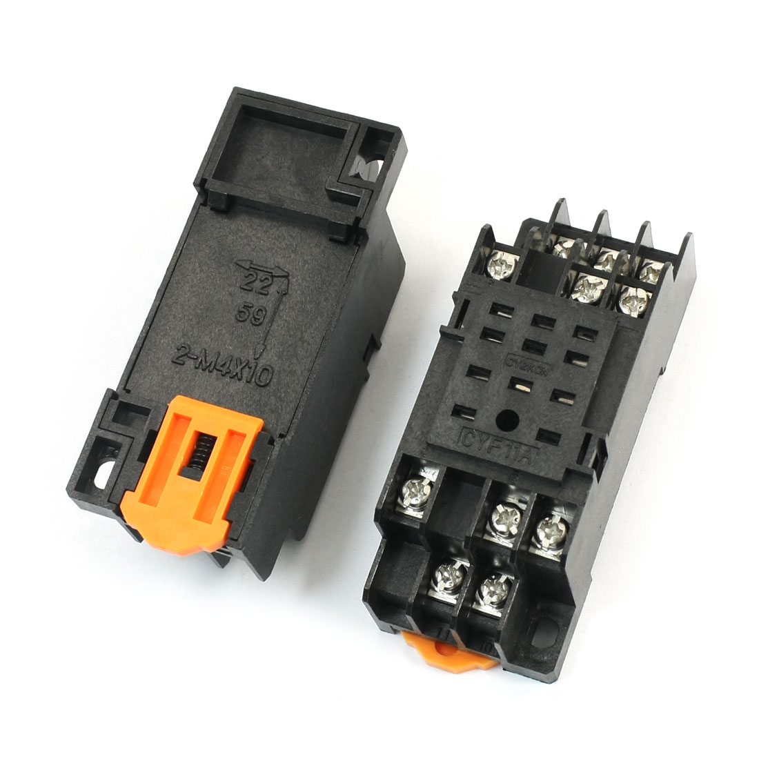 2Pcs 35mm DIN Rail Mounting 11 Screw Terminals 11Pin Black Plastic Power Relay Socket Base PYF11A for HH53P MY3NJ