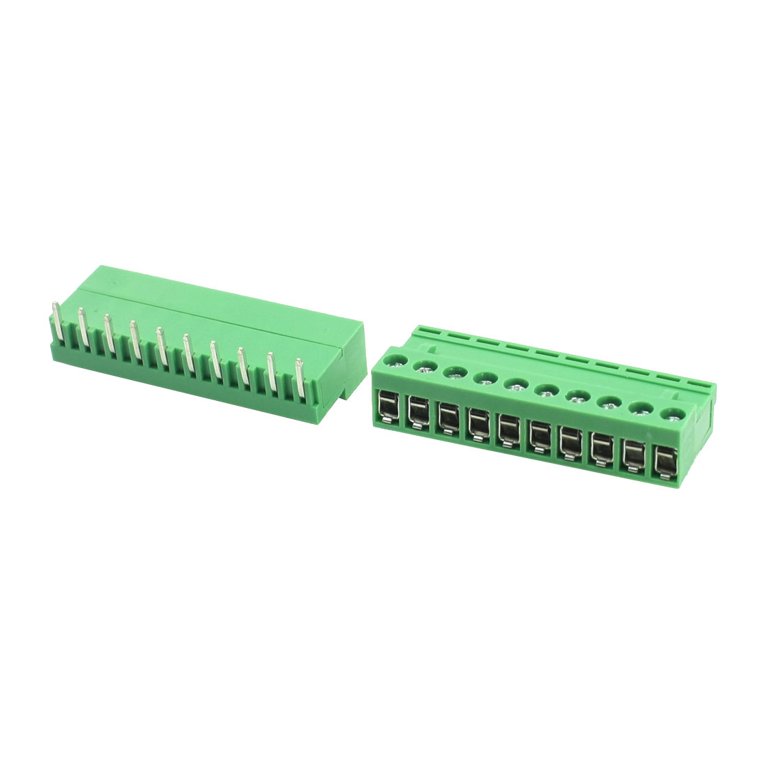 2Pcs AC300V 10A 5.08mm Spacing 10Pin Angled Pluggable Through Hole Mounting Green PCB Screw Terminal Barrier Block Connector
