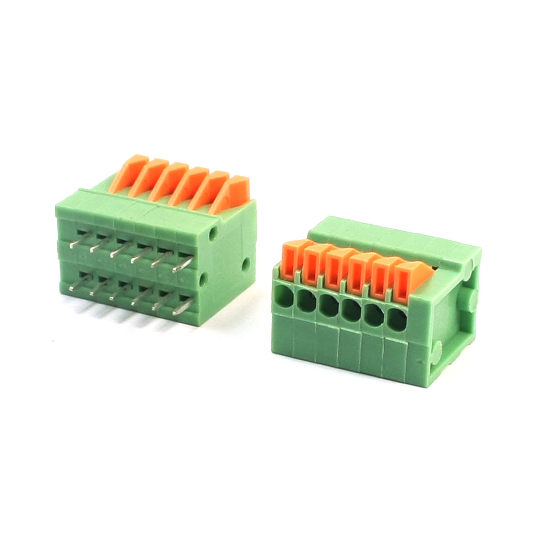 2Pcs KF141V 2.54mm Pitch Pluggable Type 12-Pole DIP PCB Mounting Screwless Terminal Barrier Block Connector Green 150V 2A