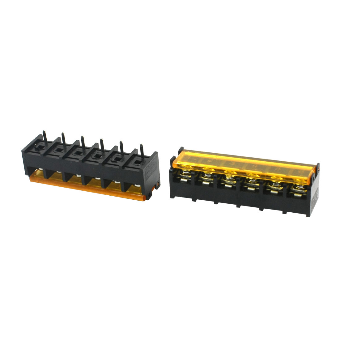 2 Pcs 9.5mm Pitch 6Pin PCB Mounting Pluggable Type Black Plastic Screw Terminal Barrier Block Connector 300V 30A