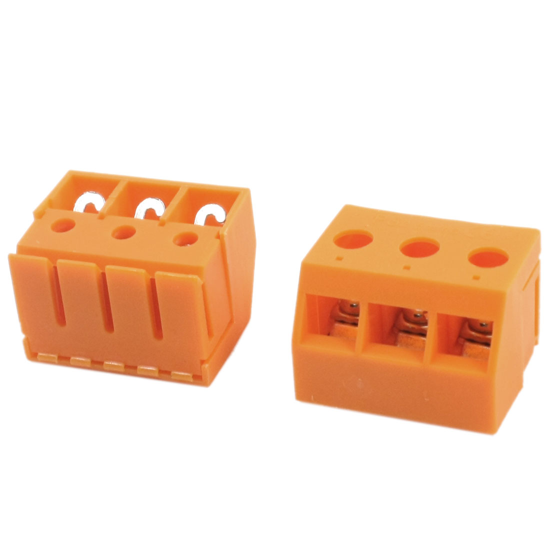 2Pcs AC 750V 30A 10mm Pitch 24-8AWG Wire 3 Screw Terminals Orange Plastic Transformer Barrier Block Connector w Cover