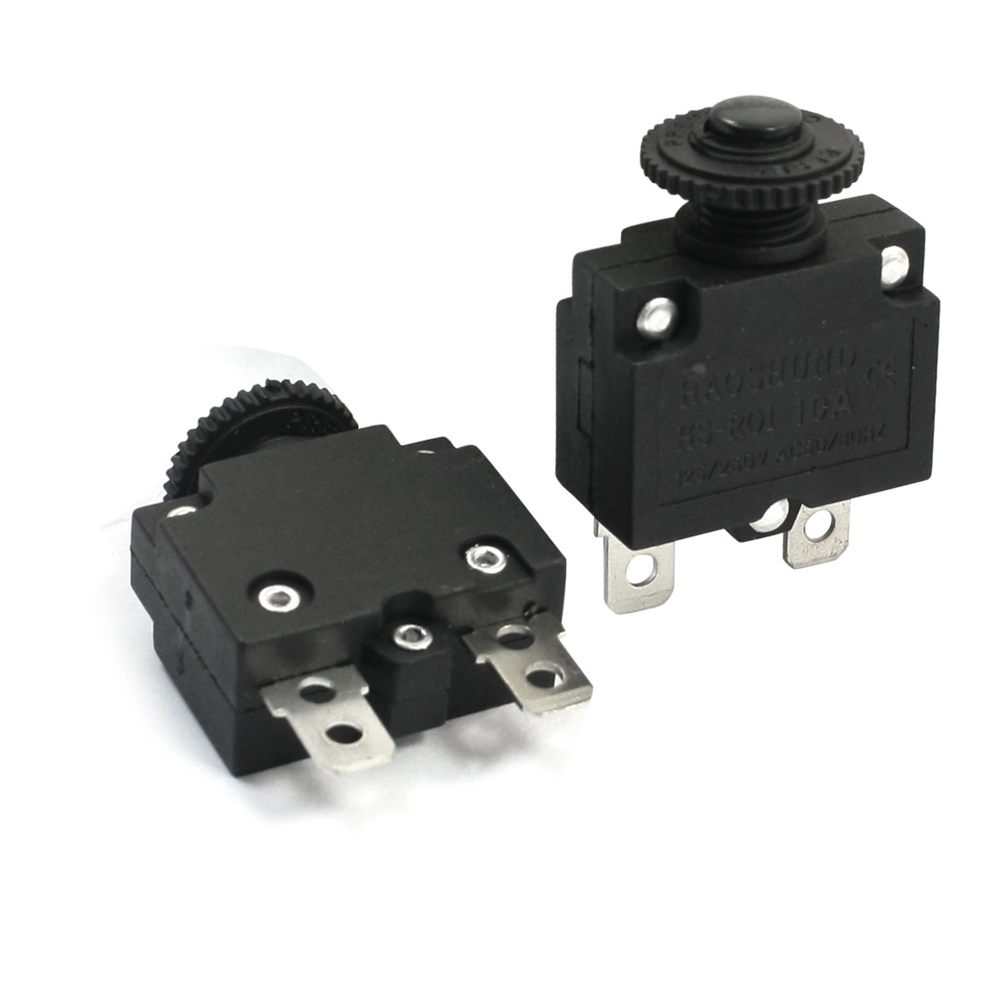 2Pcs AC 125V 250V 10A 10mm Thread Soldering Black Push Reset Button Normal Close Circuit Breaker Overload Protector