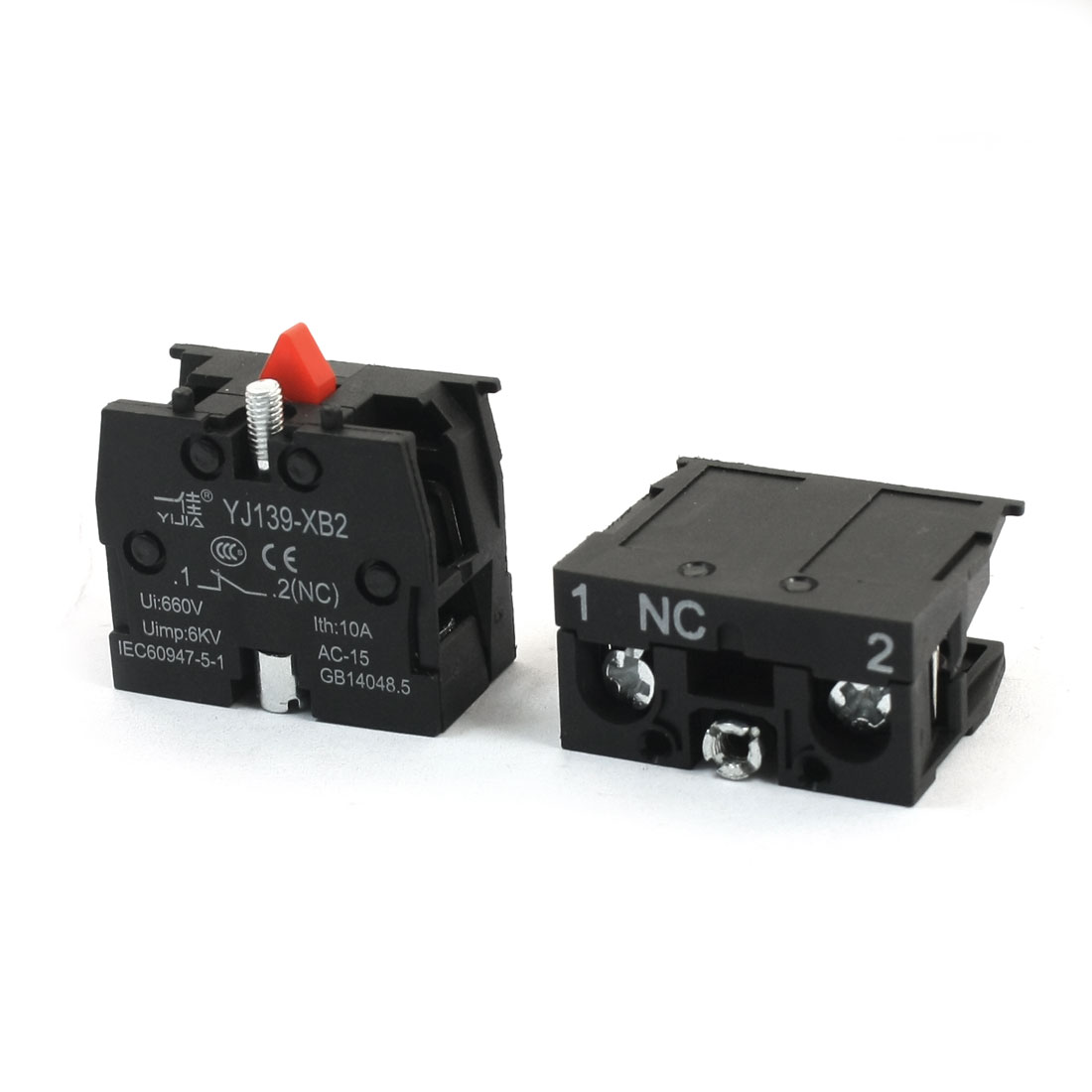 2Pcs 600V 10A SPST NC Normal Close 2 Screw Terminal Spring Load Black Push Button Switch Auxiliary Contact